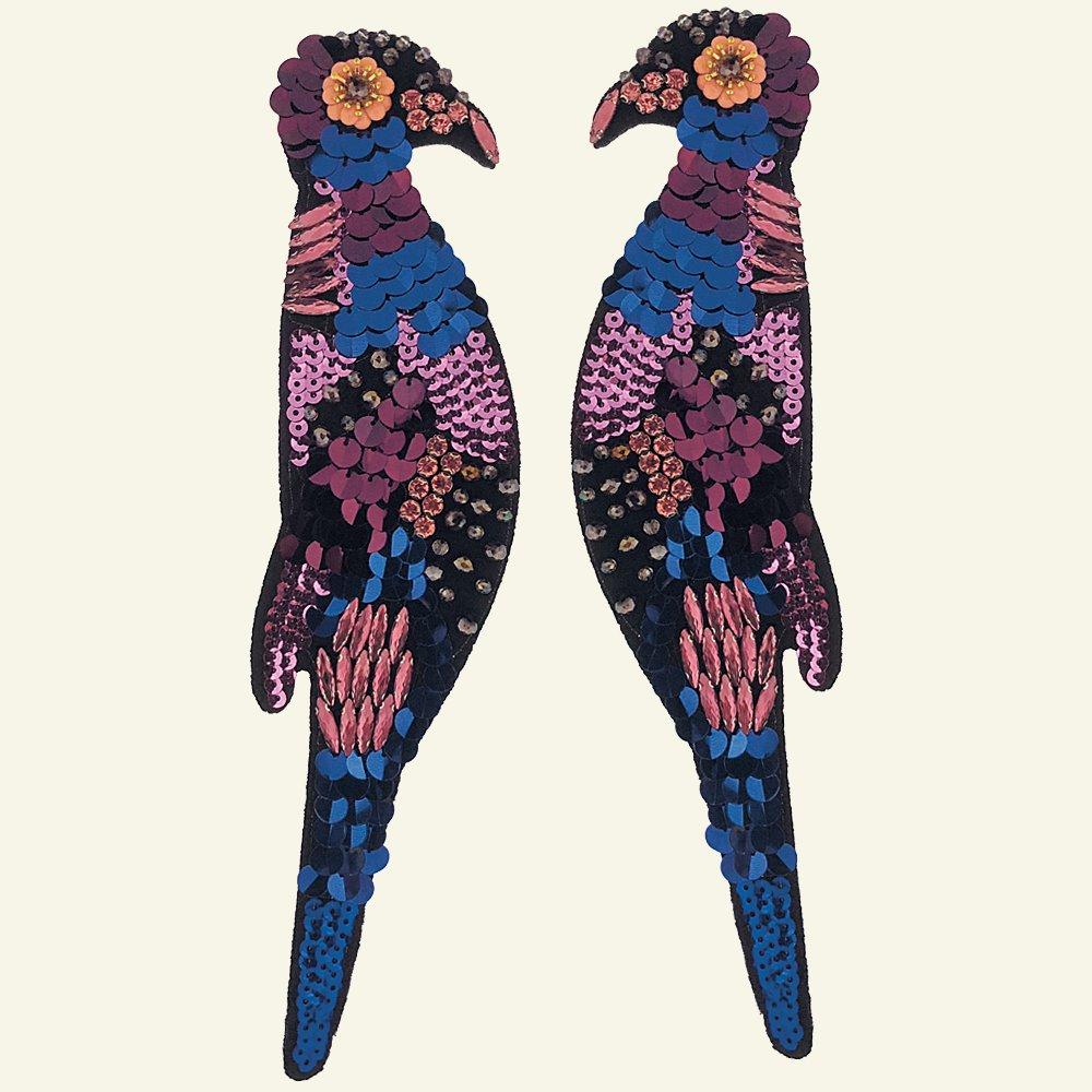 Patch birds 26x6cm blue/purple/black 2pc 24652_pack