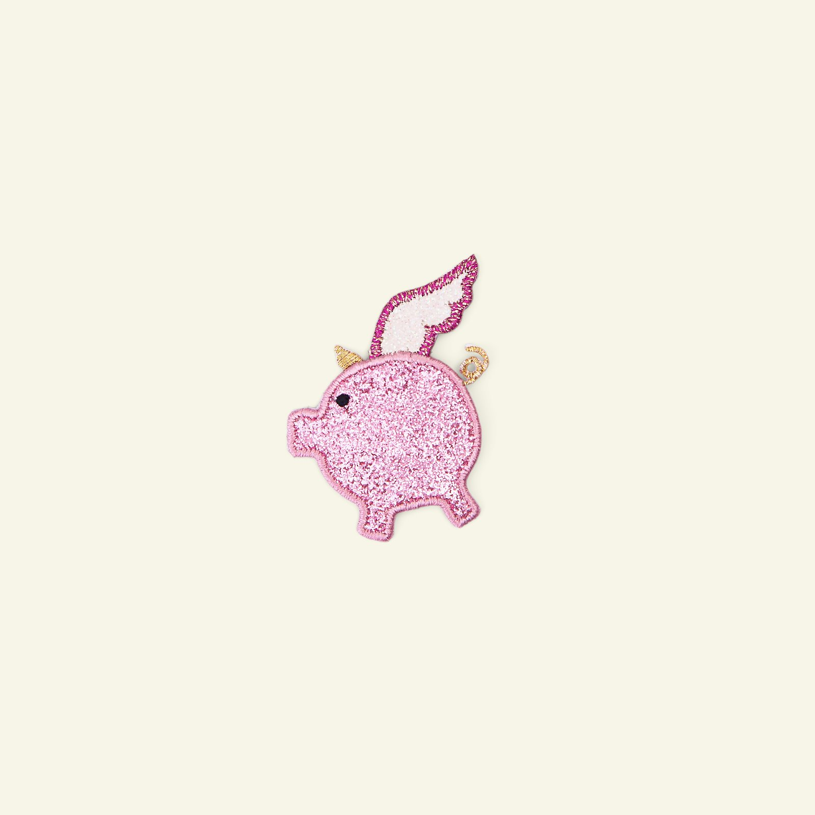 Patch pig 44x48mm pink glitter 1pc 24856_pack