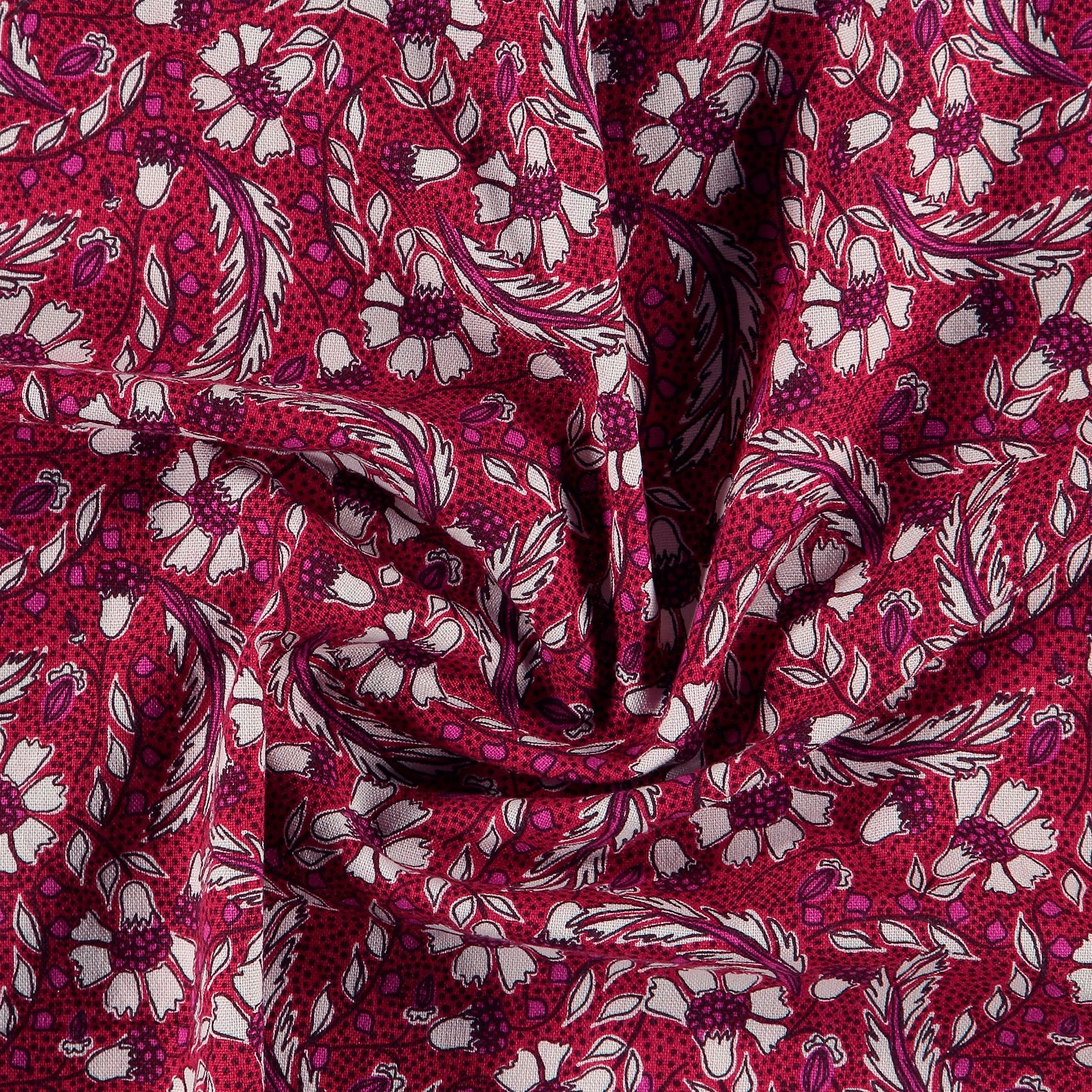 Printed cotton classic red with flowers 780571_pack