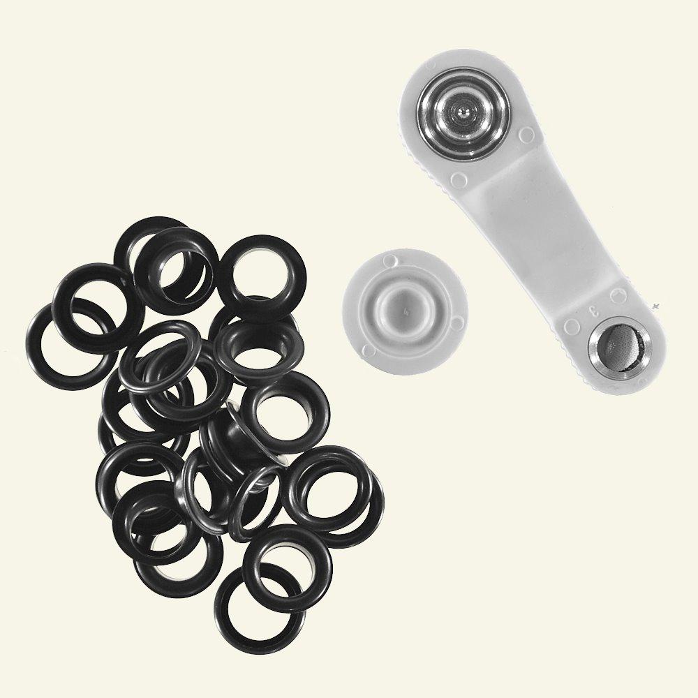Prym eyelet w/tool 11mm black 15pcs 43694_pack