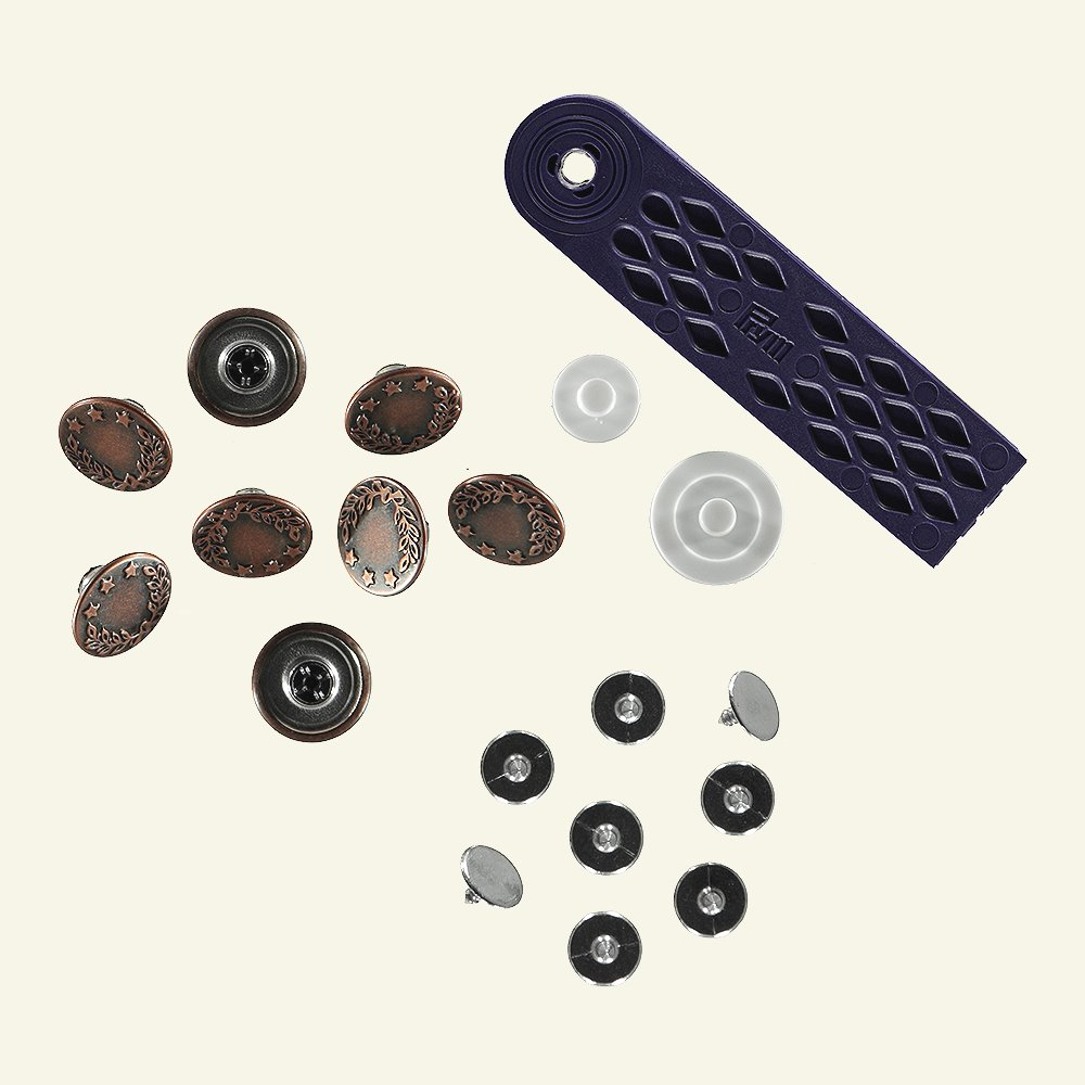 Prym jeans button 17mm antique copper 8p 45081_pack