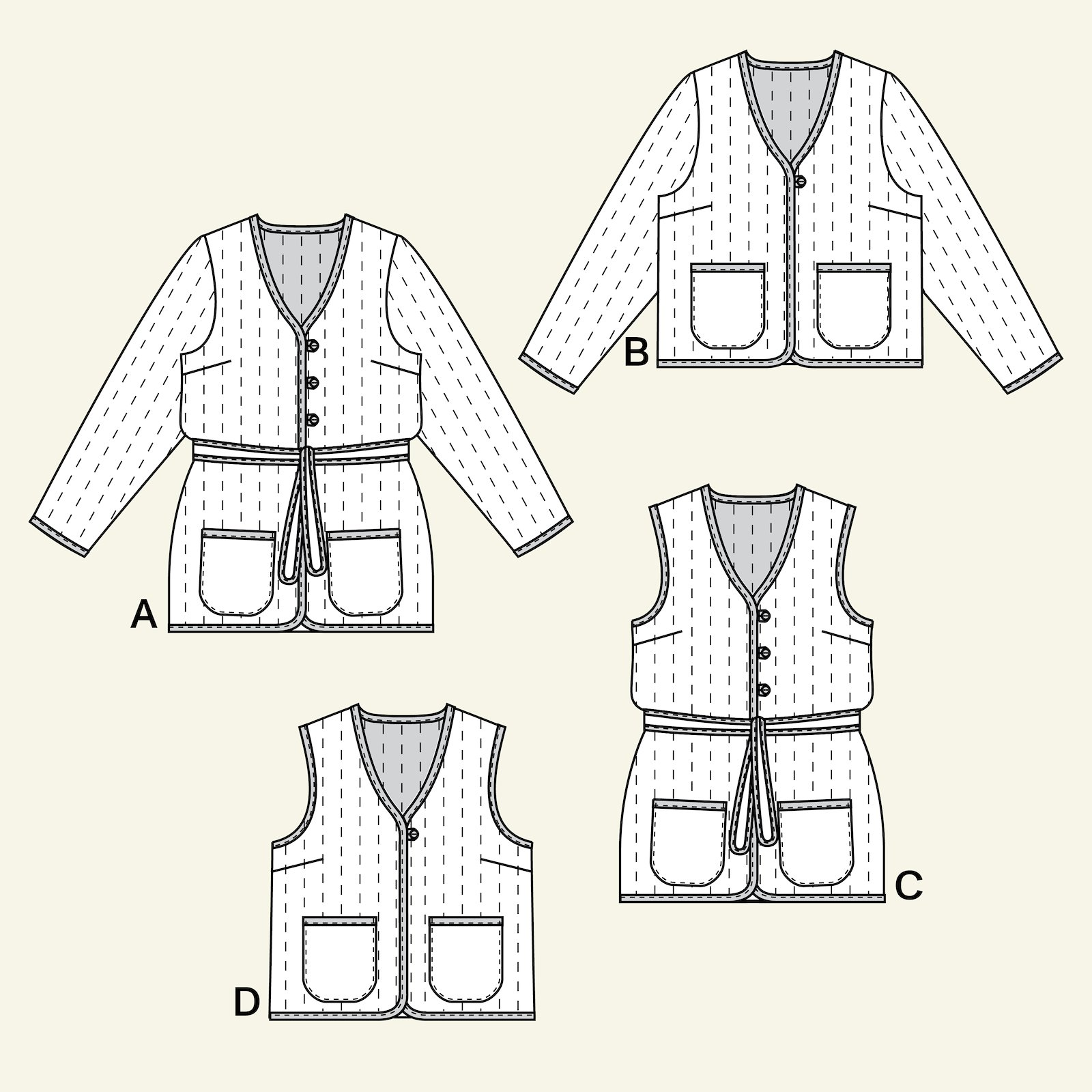 Quilted jacket and waistcoat, 44/16 p24047_pack