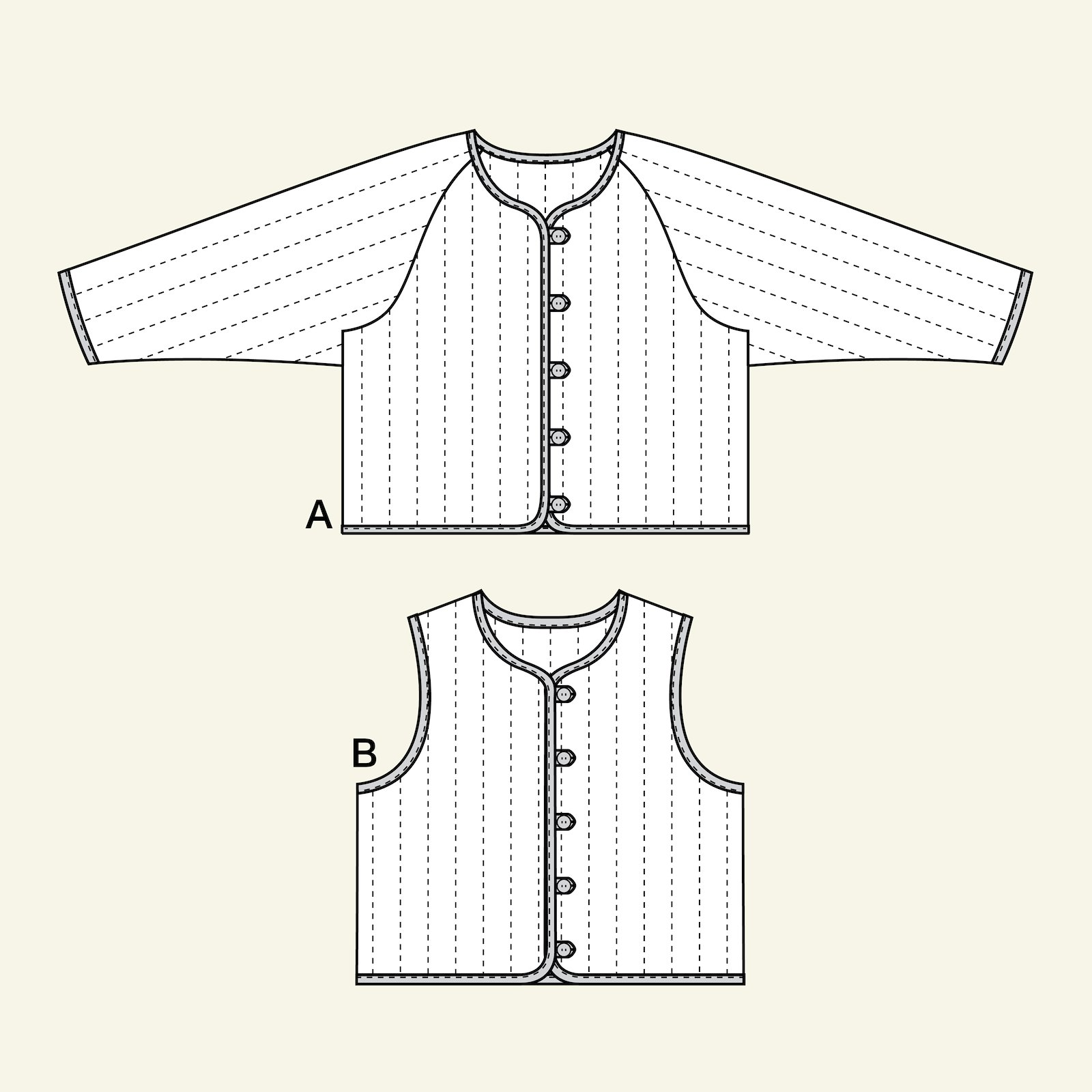 Quilted jacket and waistcoat, 80/1y p84003_pack