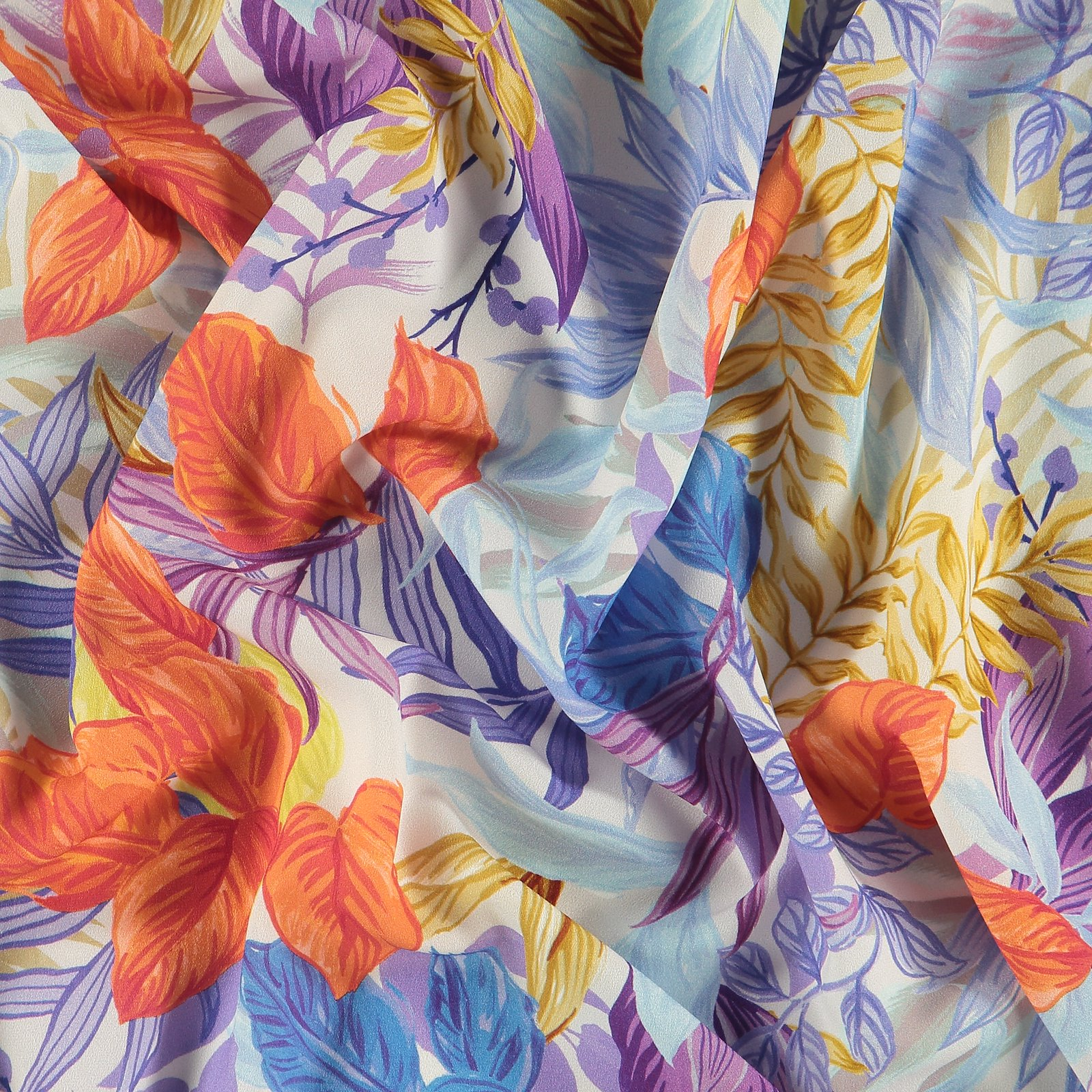 Recycled crepe satin w multicolored leaf 600532_pack