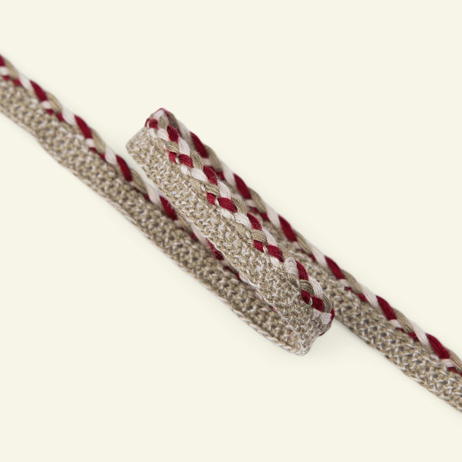 Ribbon braided 12mm beige/red2m 22227_pack