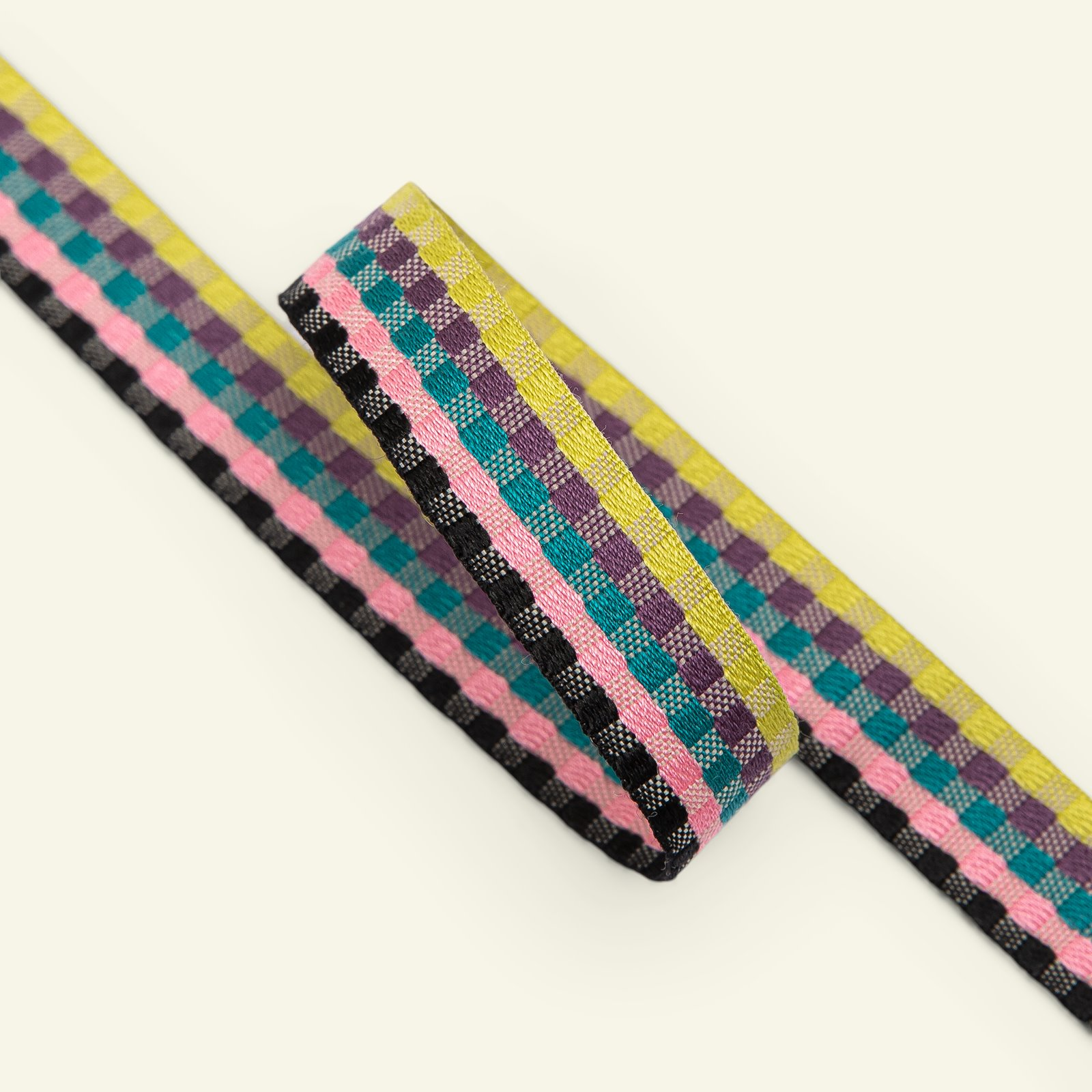 Ribbon check woven 17mm multi colour 3m 22394_pack