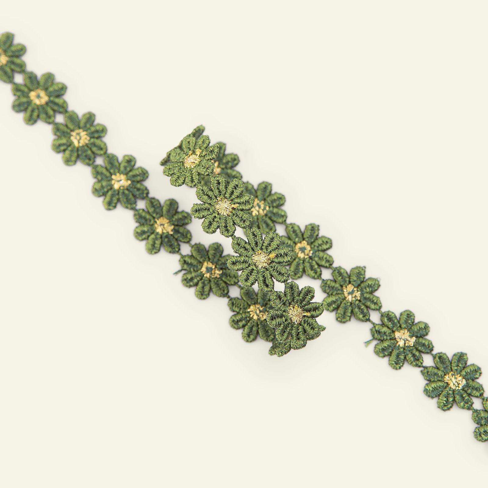 Ribbon flower 13mm dark lime/gold 1m 22208_pack