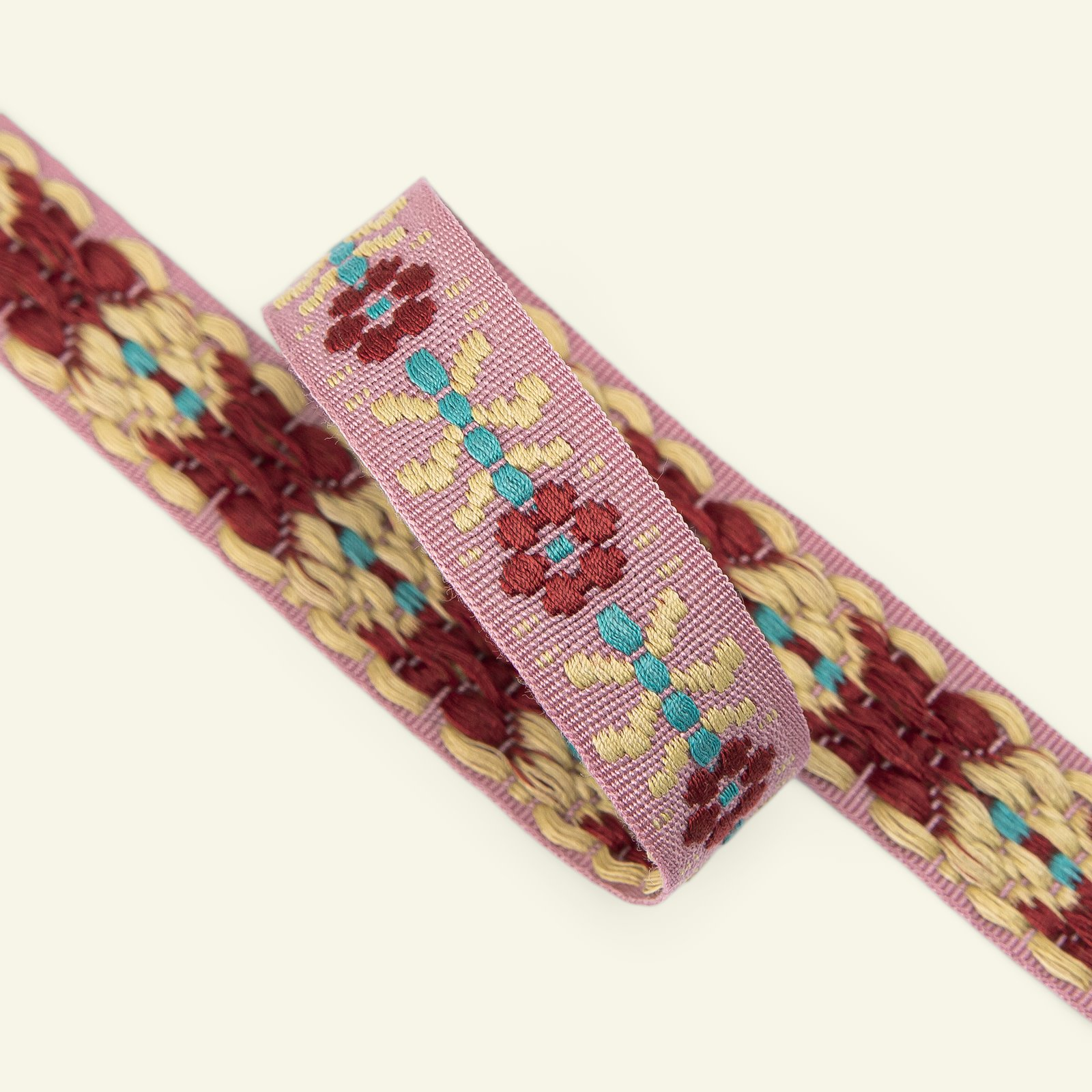 Ribbon flower woven 20mm rose/yellow 2m 22411_pack