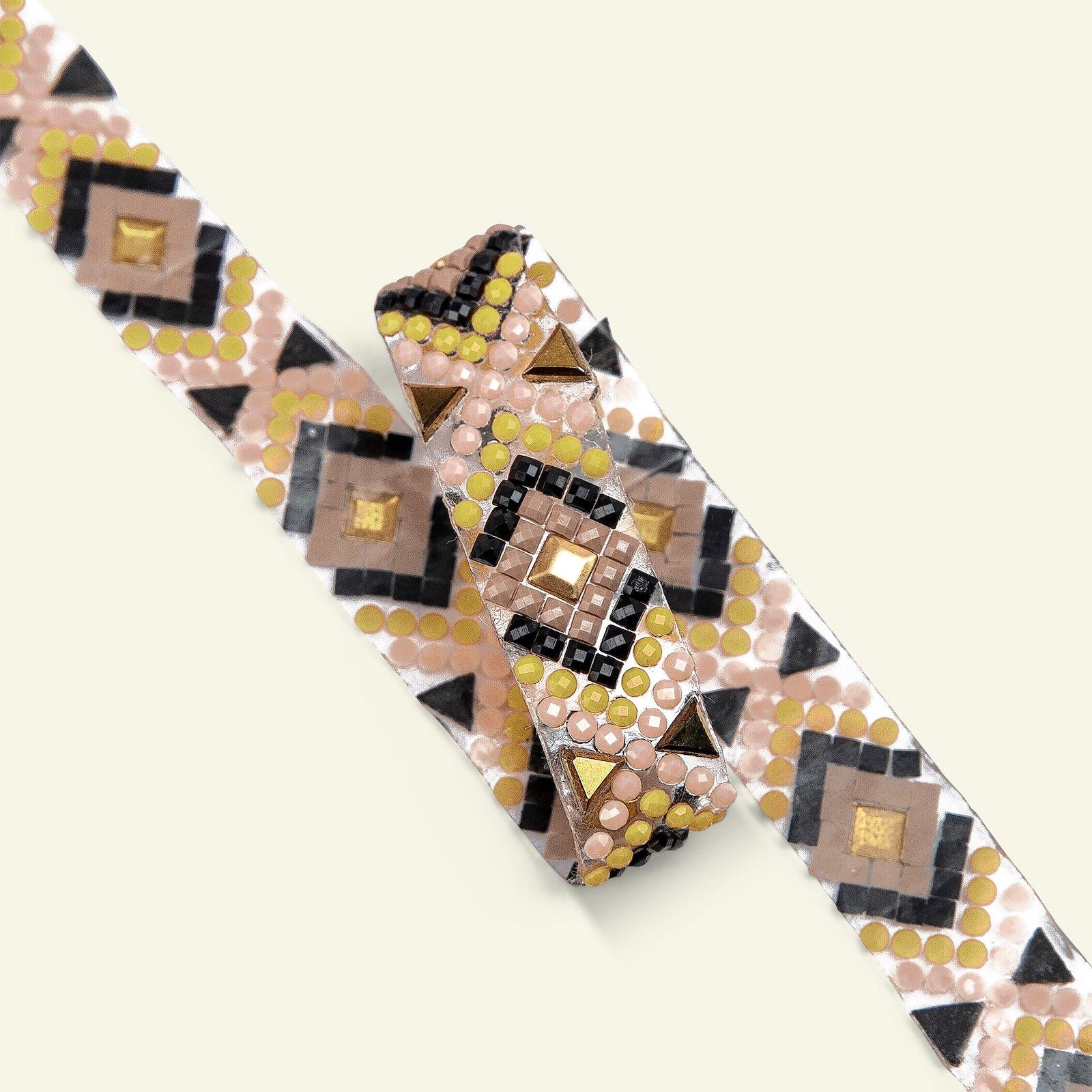 Ribbon iron 15mm yellow/rose/black 50cm 21376_pack