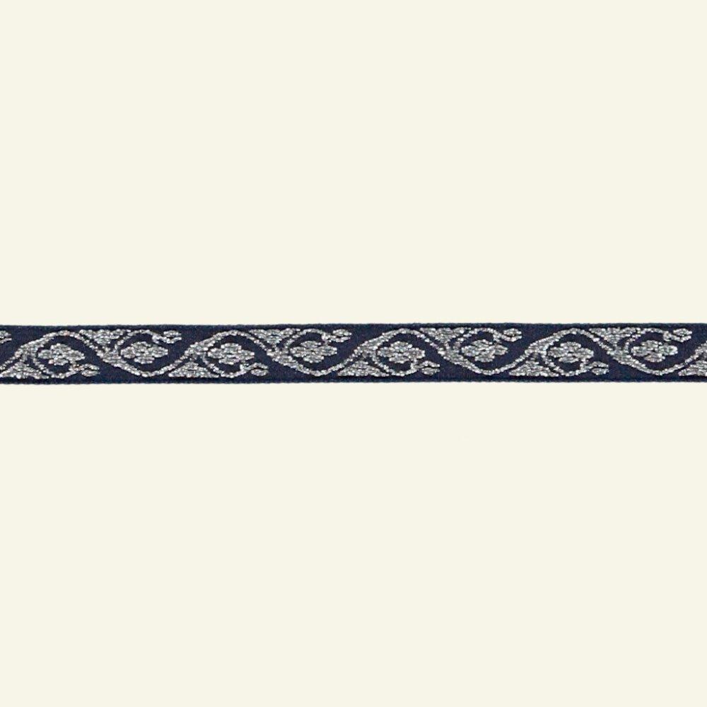 Ribbon jacquard 10mm silver/navy 3m 20682_pack
