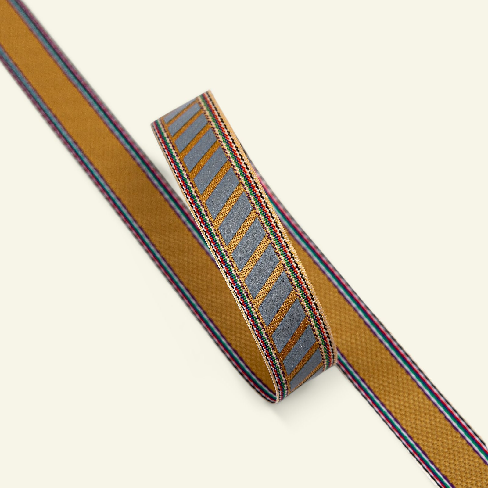 Ribbon stripe 15mm orange/grey 3m 21476_pack