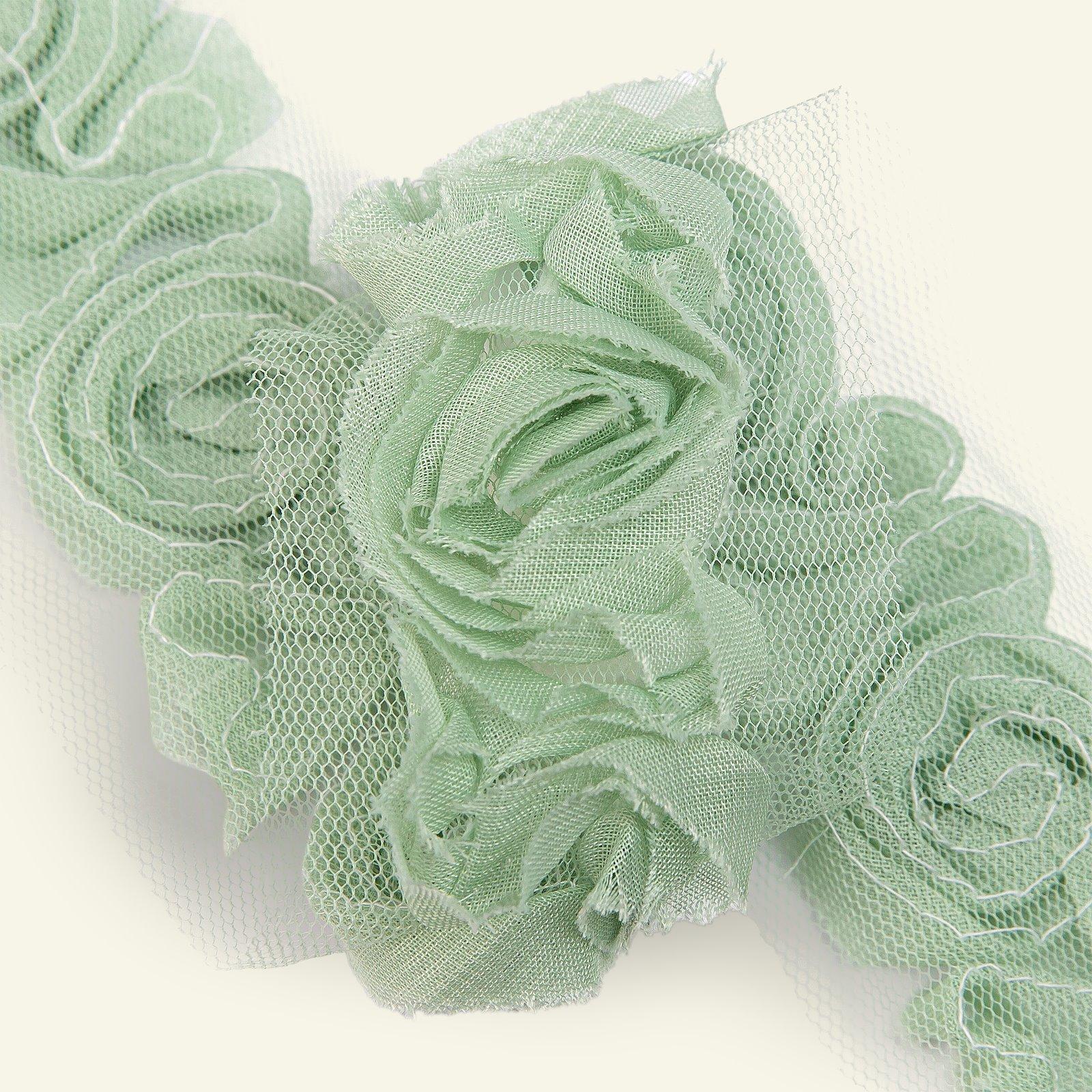 Ribbon tulle flower 60mm mint 2m 82413_pack