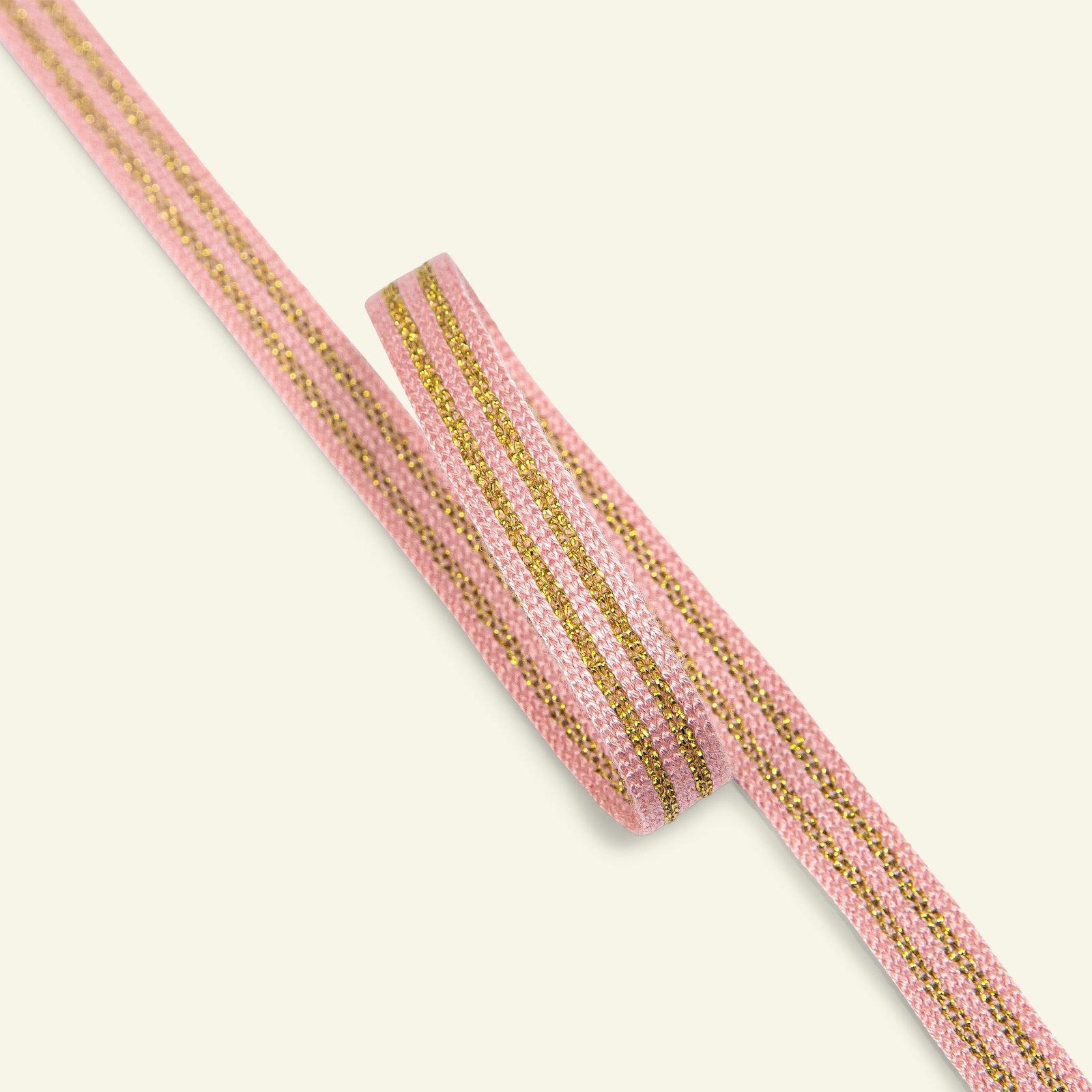 Ribbon woven 10mm dusty rose/gold lur 3m 21435_pack