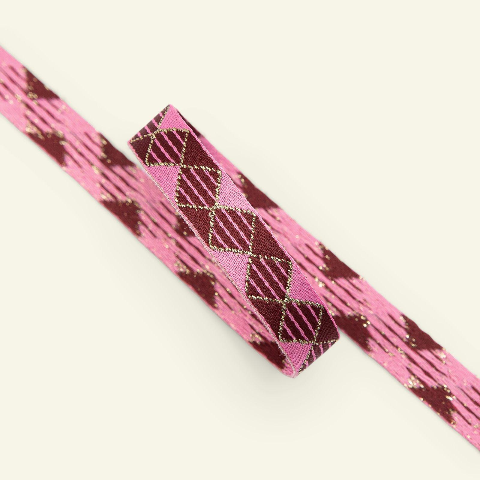 Ribbon woven 12mm pink/bordeaux 3m 22360_pack