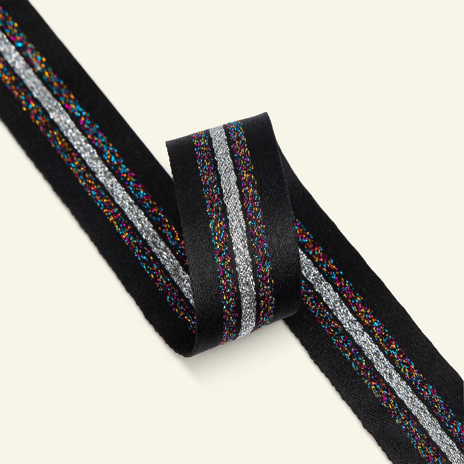 Ribbon woven 25mm bla/mul/sølv lurex 3m 21374_pack