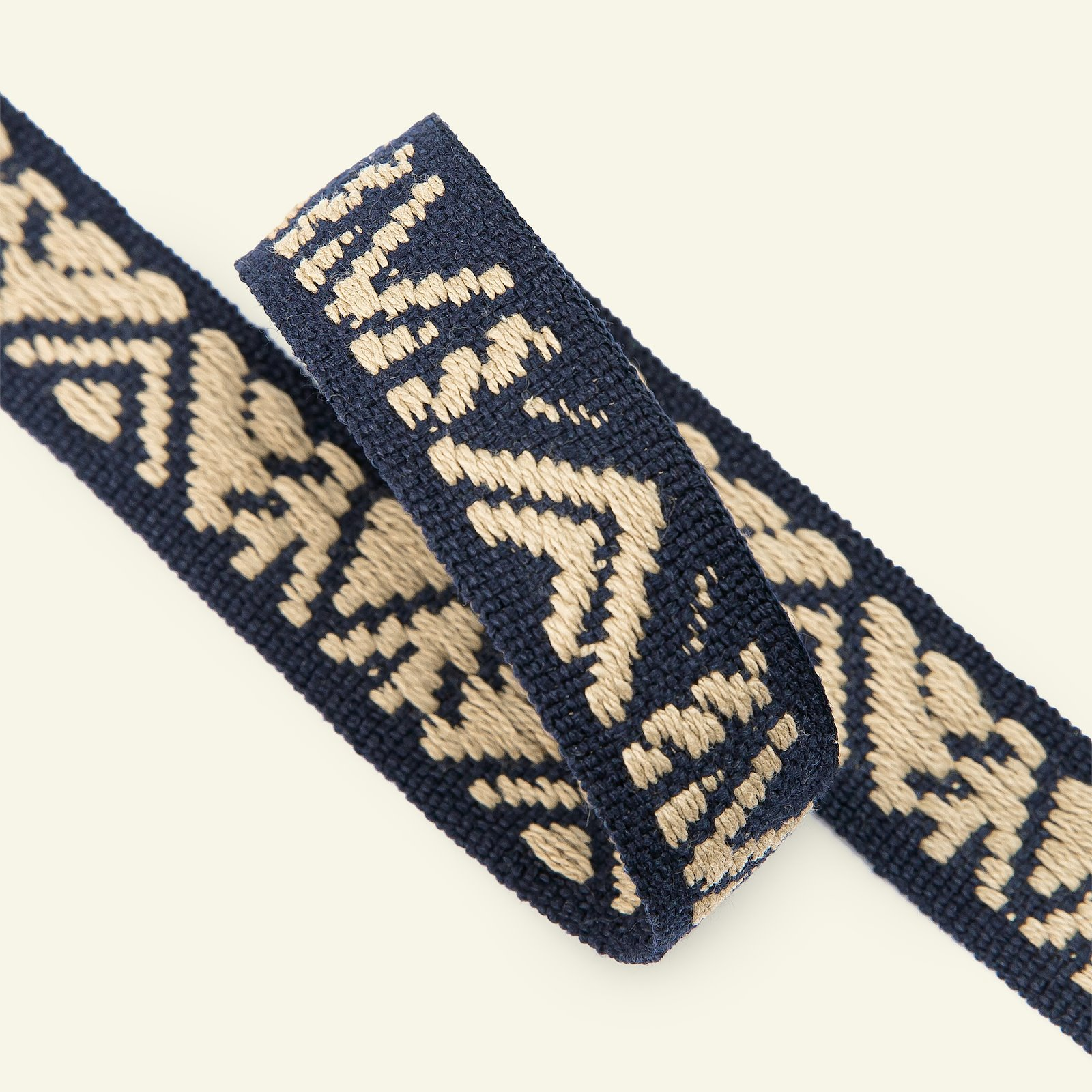 Ribbon woven 25mm sand/navy 2m 22386_pack