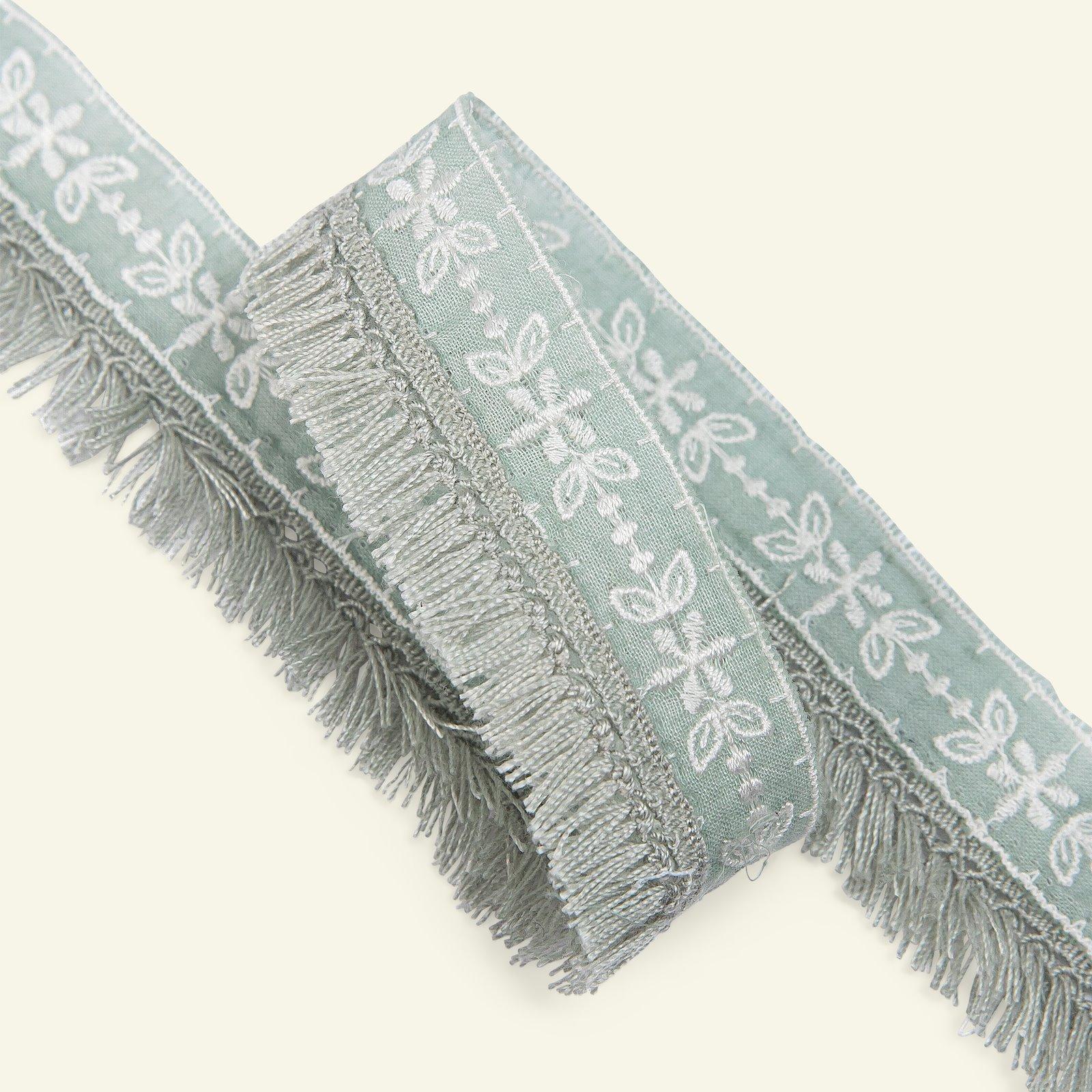 Ribbon woven w/fringes 30mm sage 1,5m 96331_pack