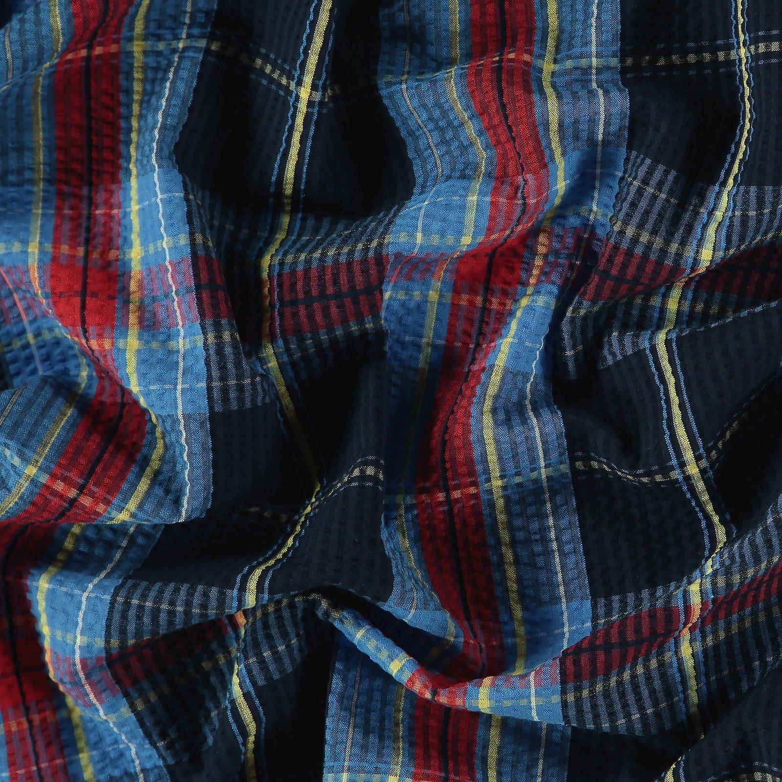 Seersucker blue/red yarn dyed check 580053_pack