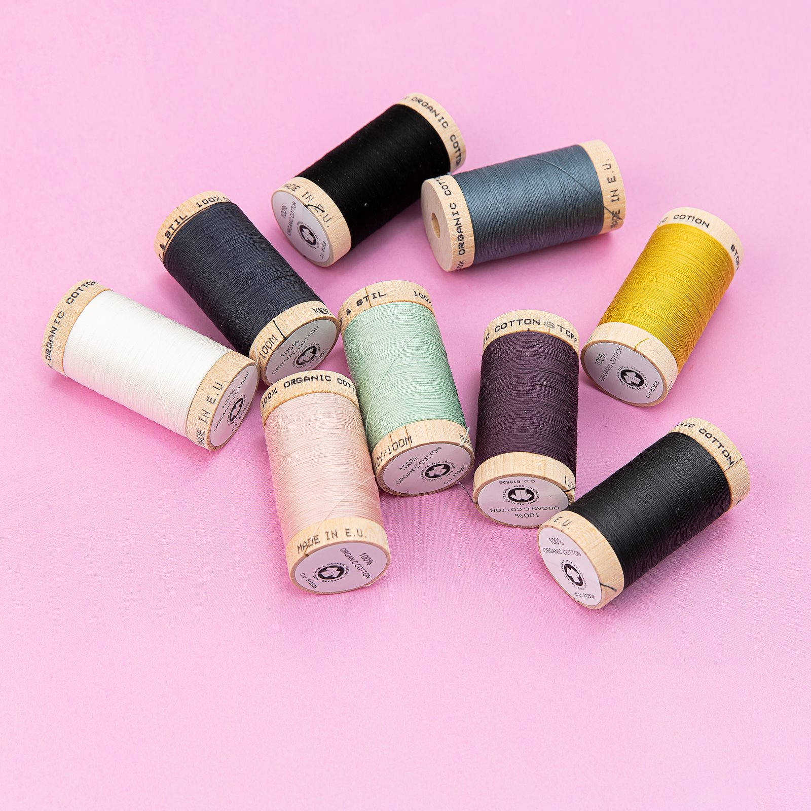 Sewing thread organic cotton blue 100m 18092_18033_18042_18072_18017_18043_18023_18021_18002_bundle