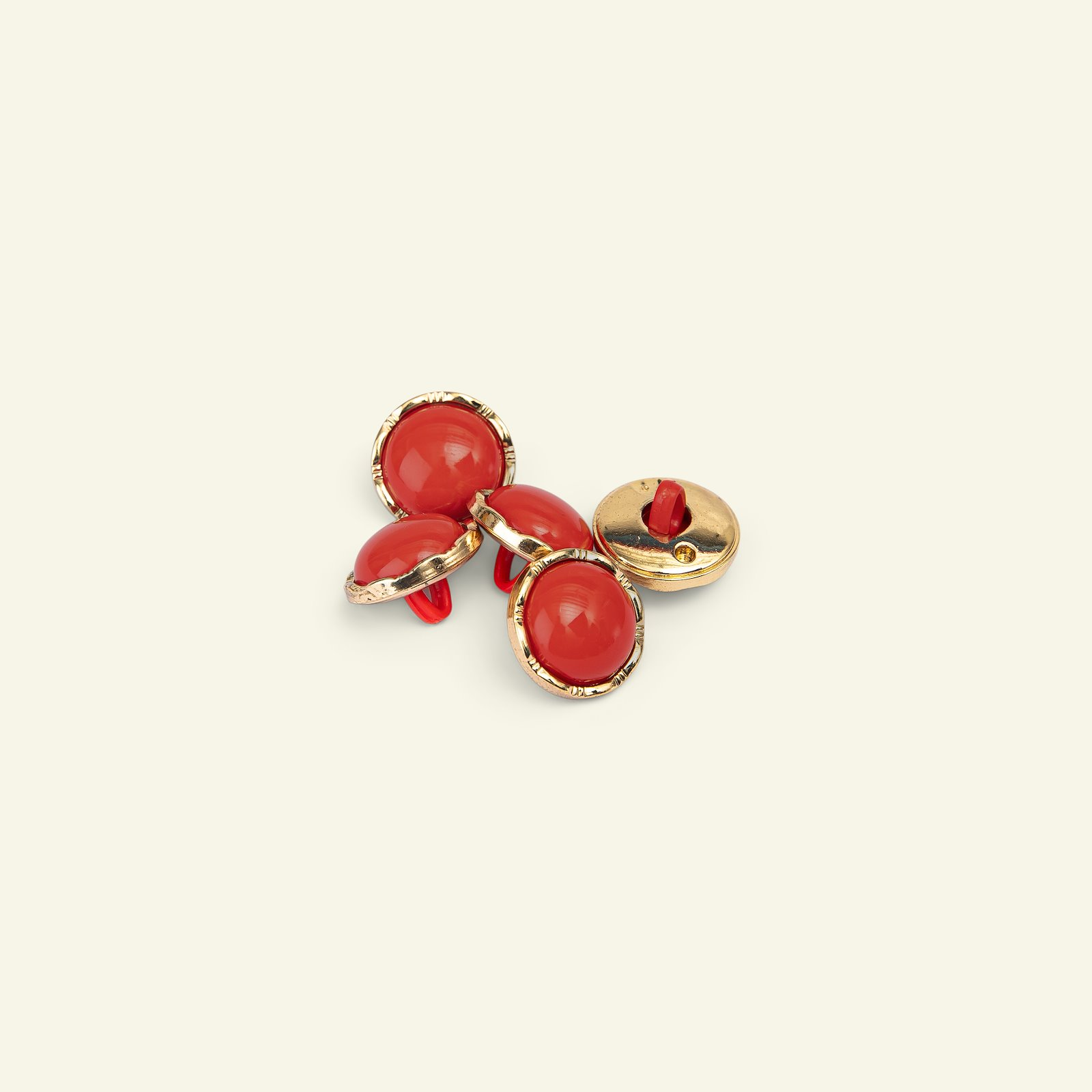 Shank button gold rim 15mm red 5pcs 33365_pack