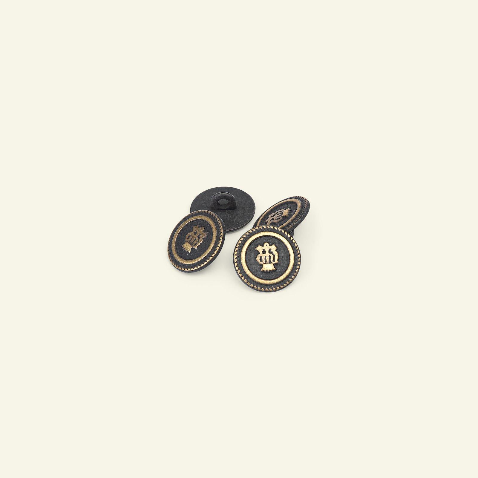 Shank button metal 14mm black/gold 4pcs 33597_pack