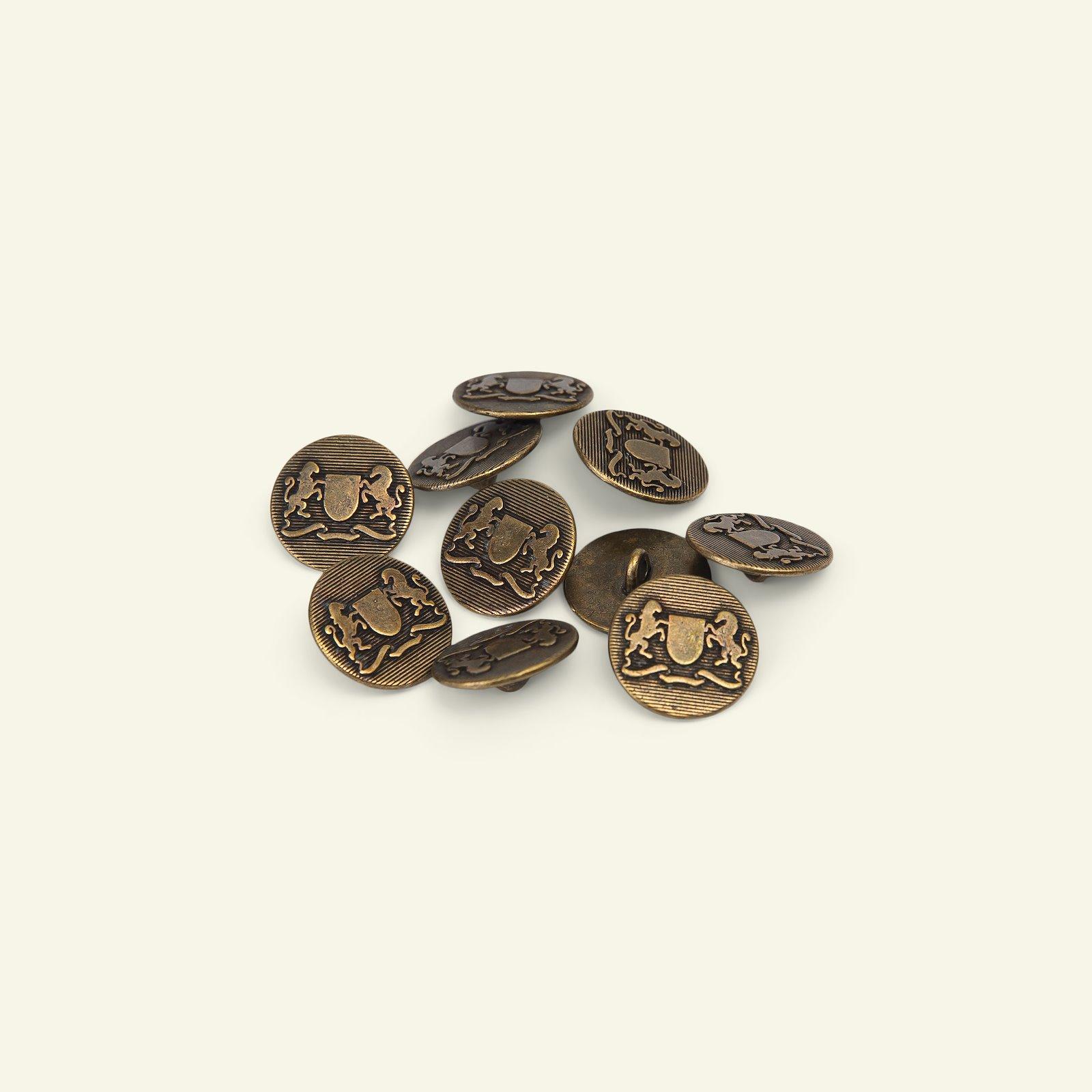 Shank button metal 15mm dark gold 10pcs 33588_pack
