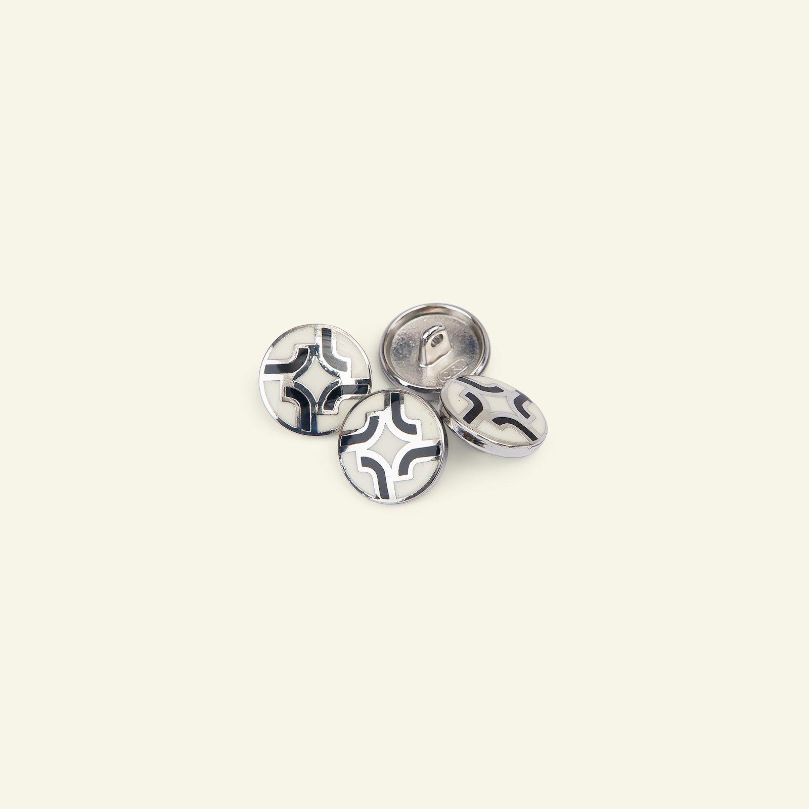 Shank button metal w/rim 15mm white 4pcs 33093_pack