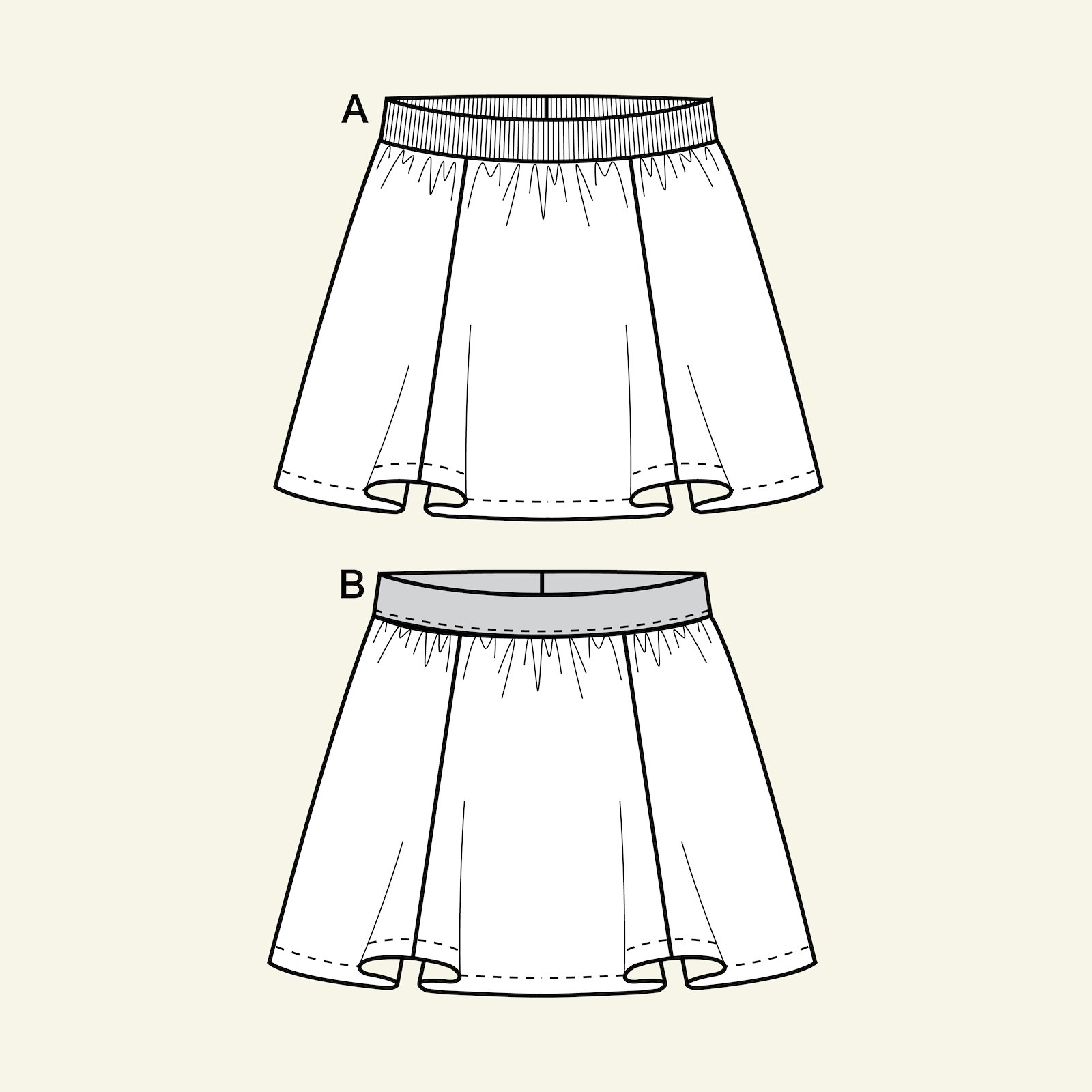 Skirt with cross cutting, 134/9y p61017_pack