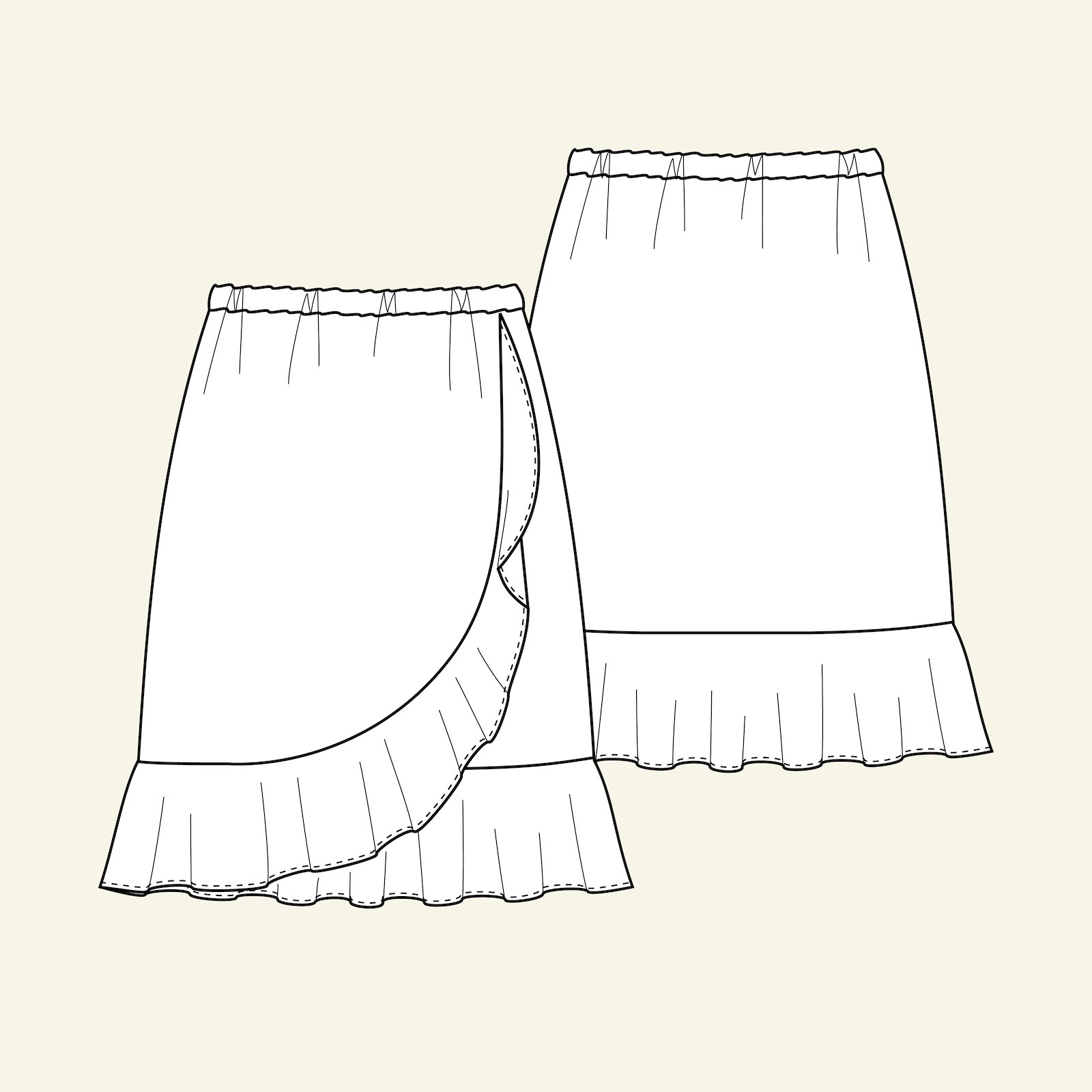 Skirt with flounce, 122/7y p61016_pack