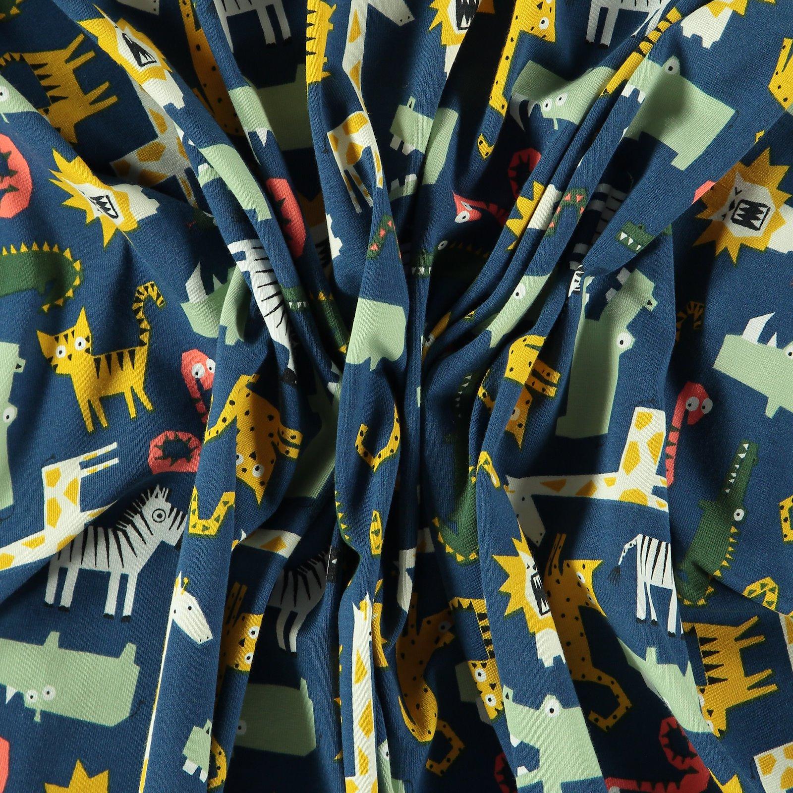 Stretch jersey dark blue w wild animal 272642_pack