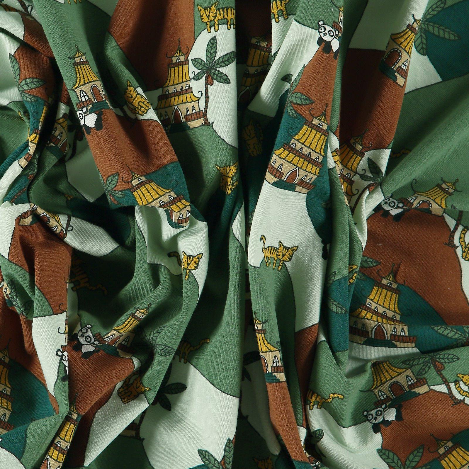 Stretch jersey green w panda/mountains 272641_pack