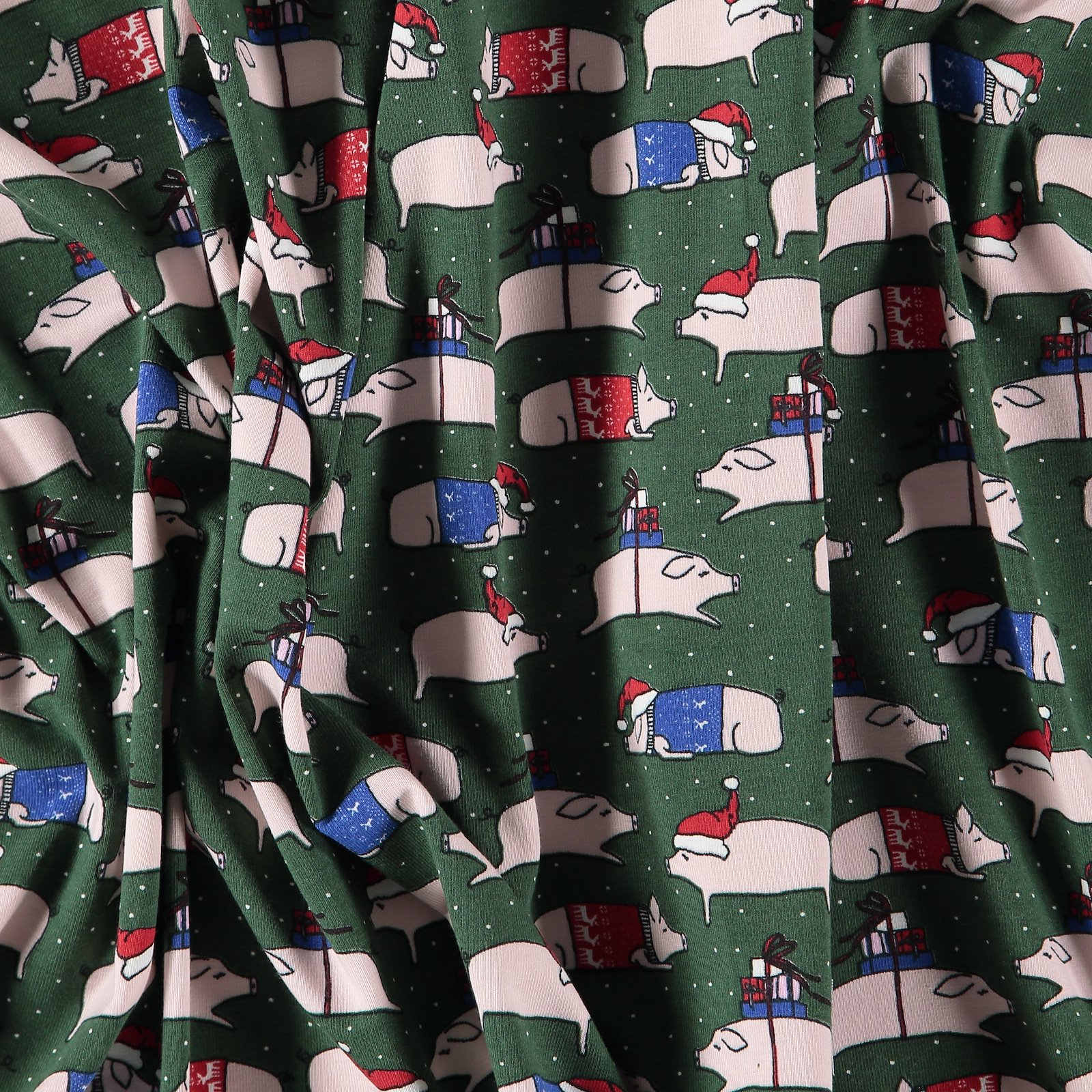 Stretch jersey green with christmas pigs 272622_pack