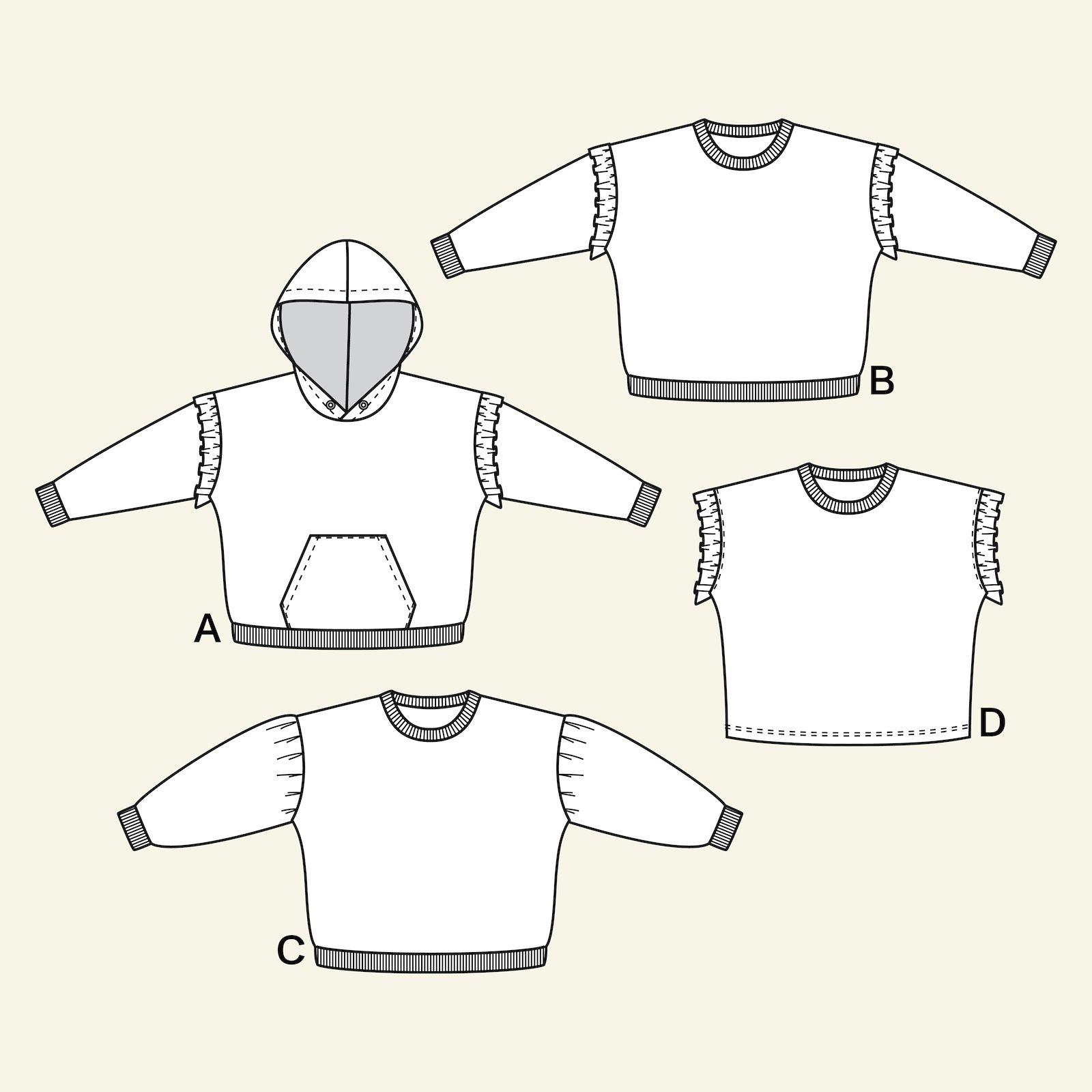 Sweatshirt w. hood + pocket, 134/9y p62020_pack