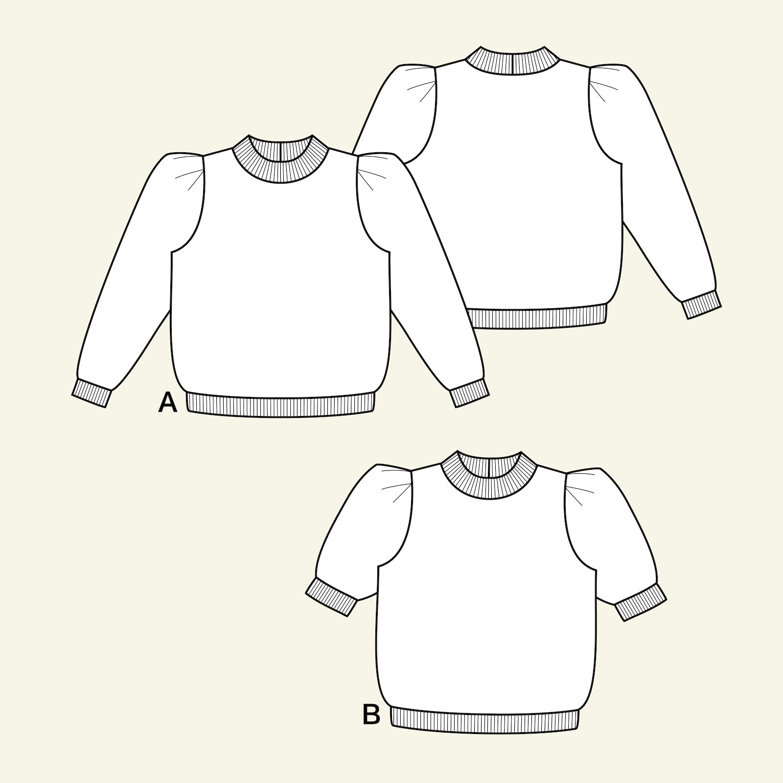 Sweatshirt with puff sleeves, M p22074_pack