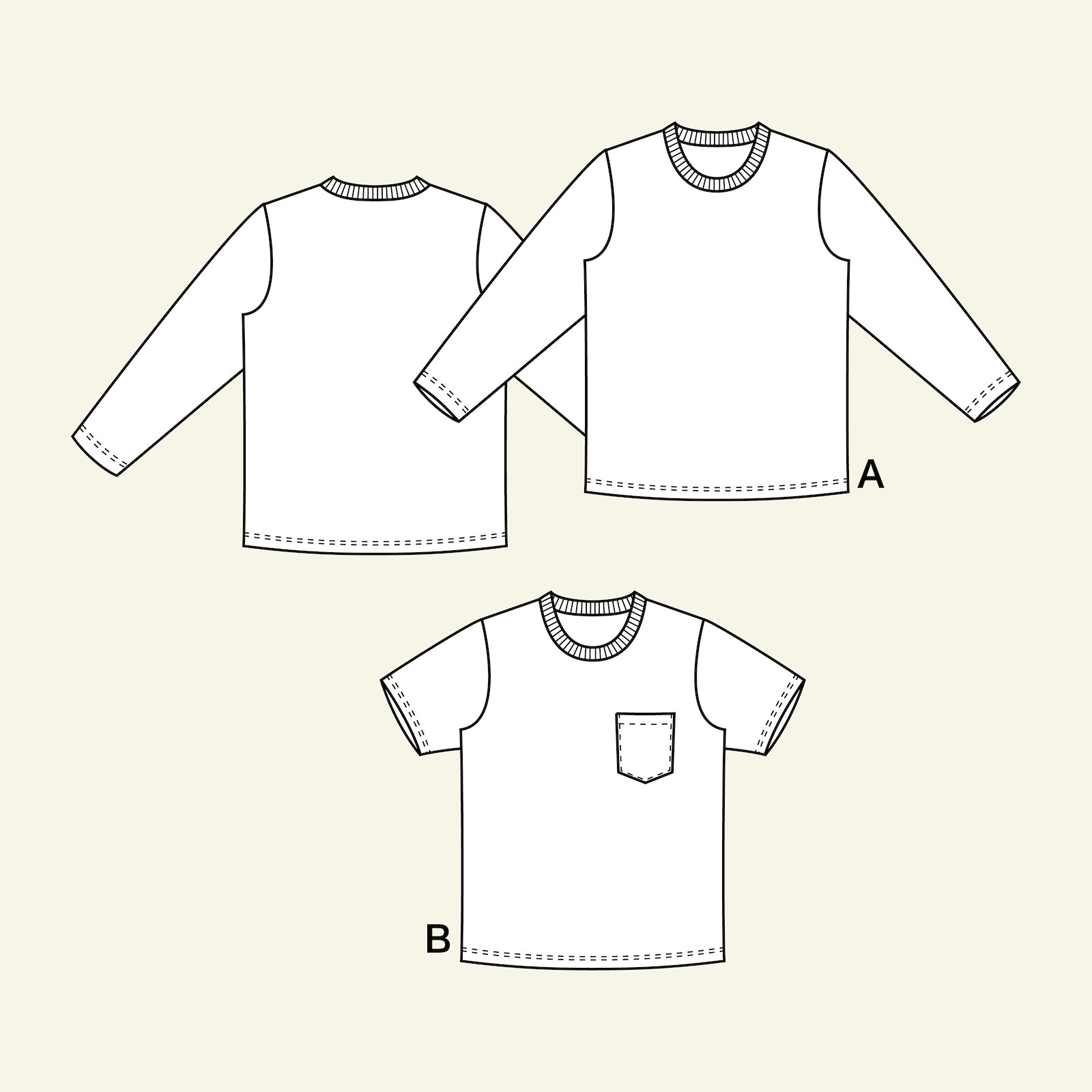 T-shirt with long and short, 152/12y p62017_pack