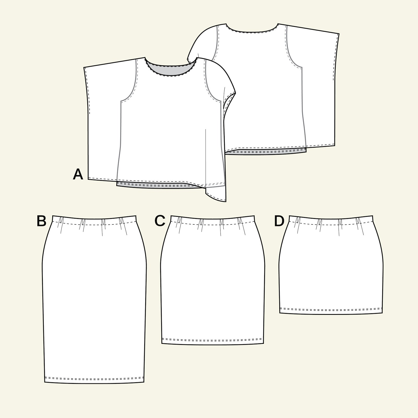 Top and skirt, 60/32 p73011_pack
