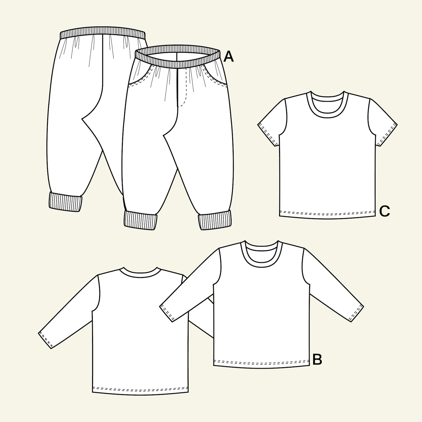 Trousers and T-shirt, 86/1y p81022_pack