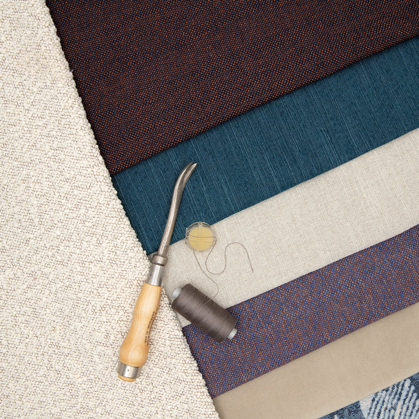 Upholstery fabric navy/chestnut brown 824161_824157_824153_824152_824156_824158_bundle