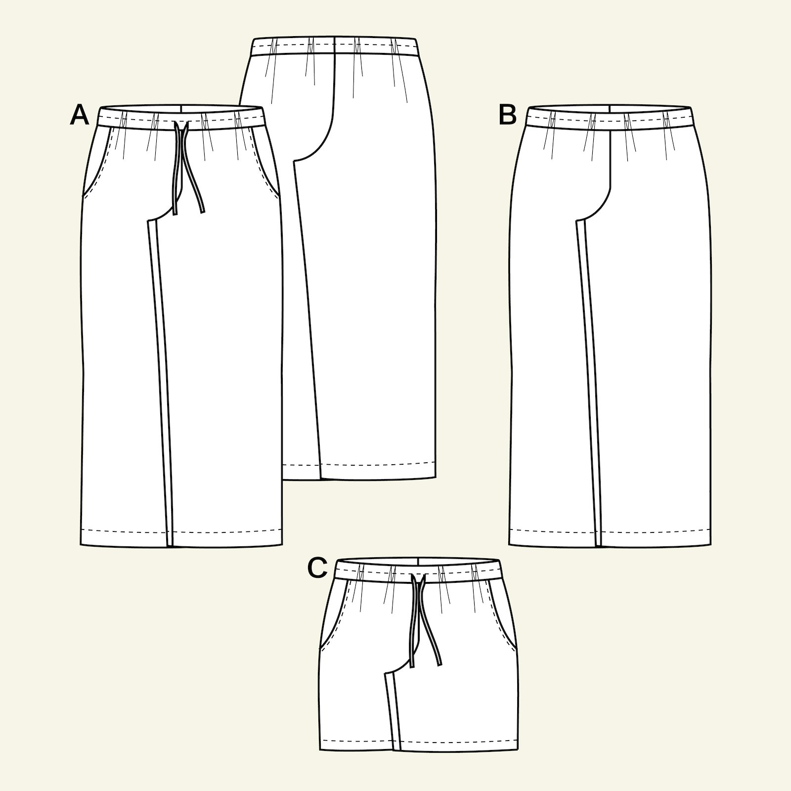 Wide trousers/shorts w. pockets, 42/14 p20051_pack