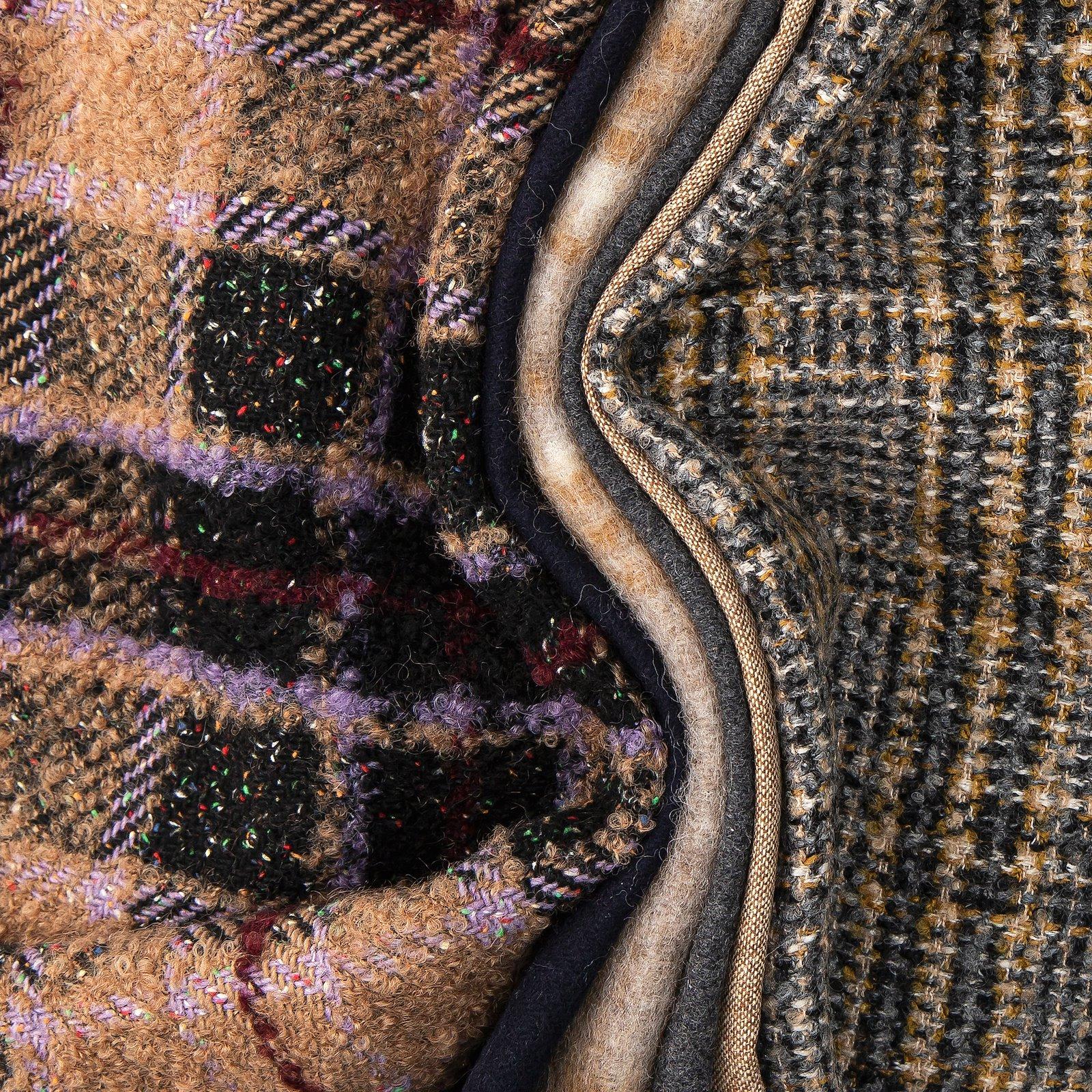 Wool felt grey/beige melange check 300130_300222_300227_310363_bundle