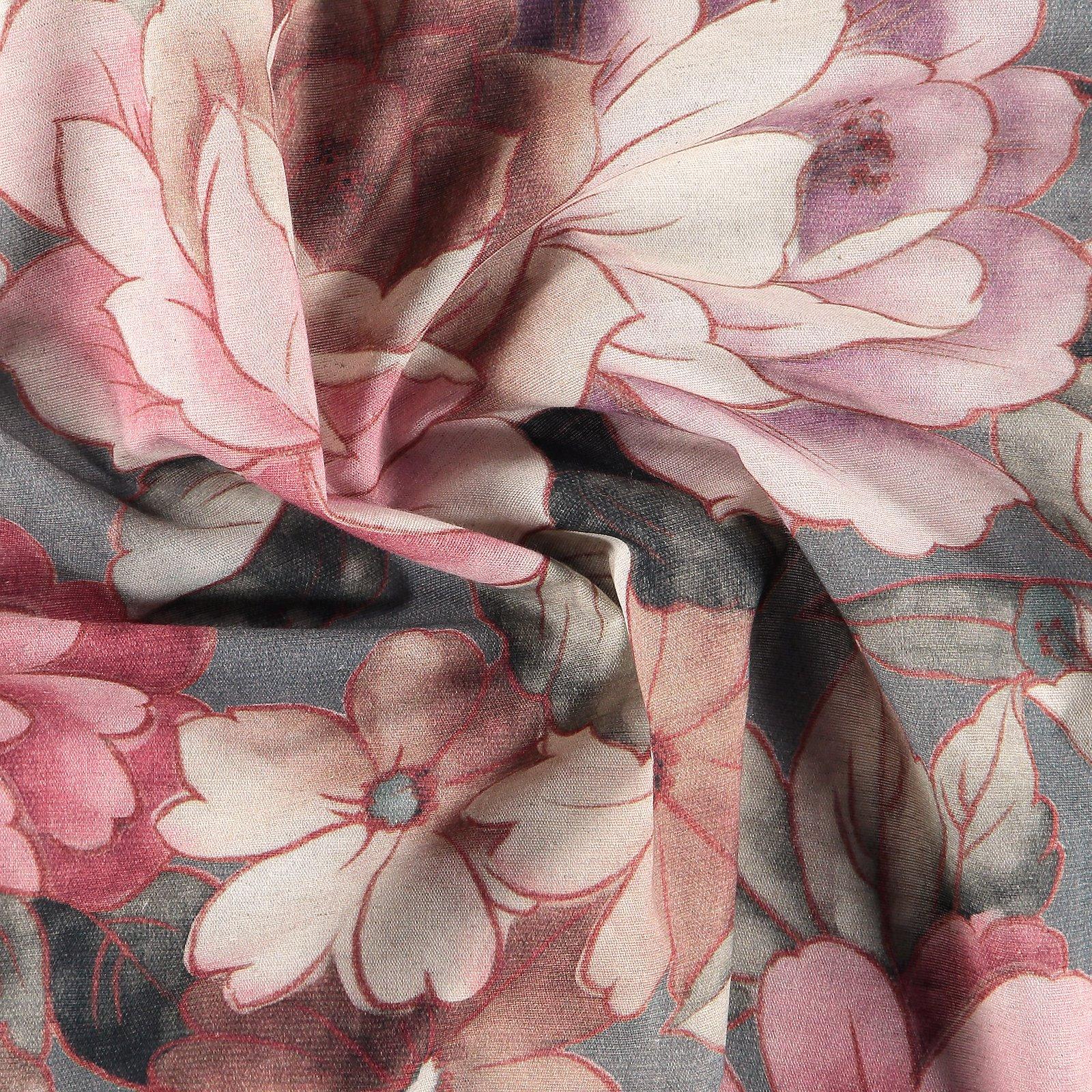 Woven cotton/linen dark grey w. flower 780589_pack