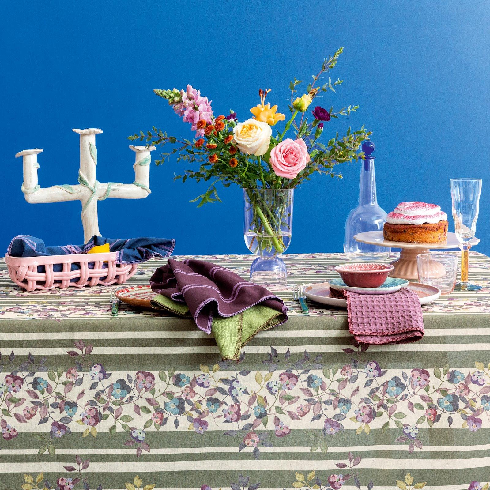 Woven cotton/linen green/rose w flowers 780576_816255_852312_501887_816223_bundle