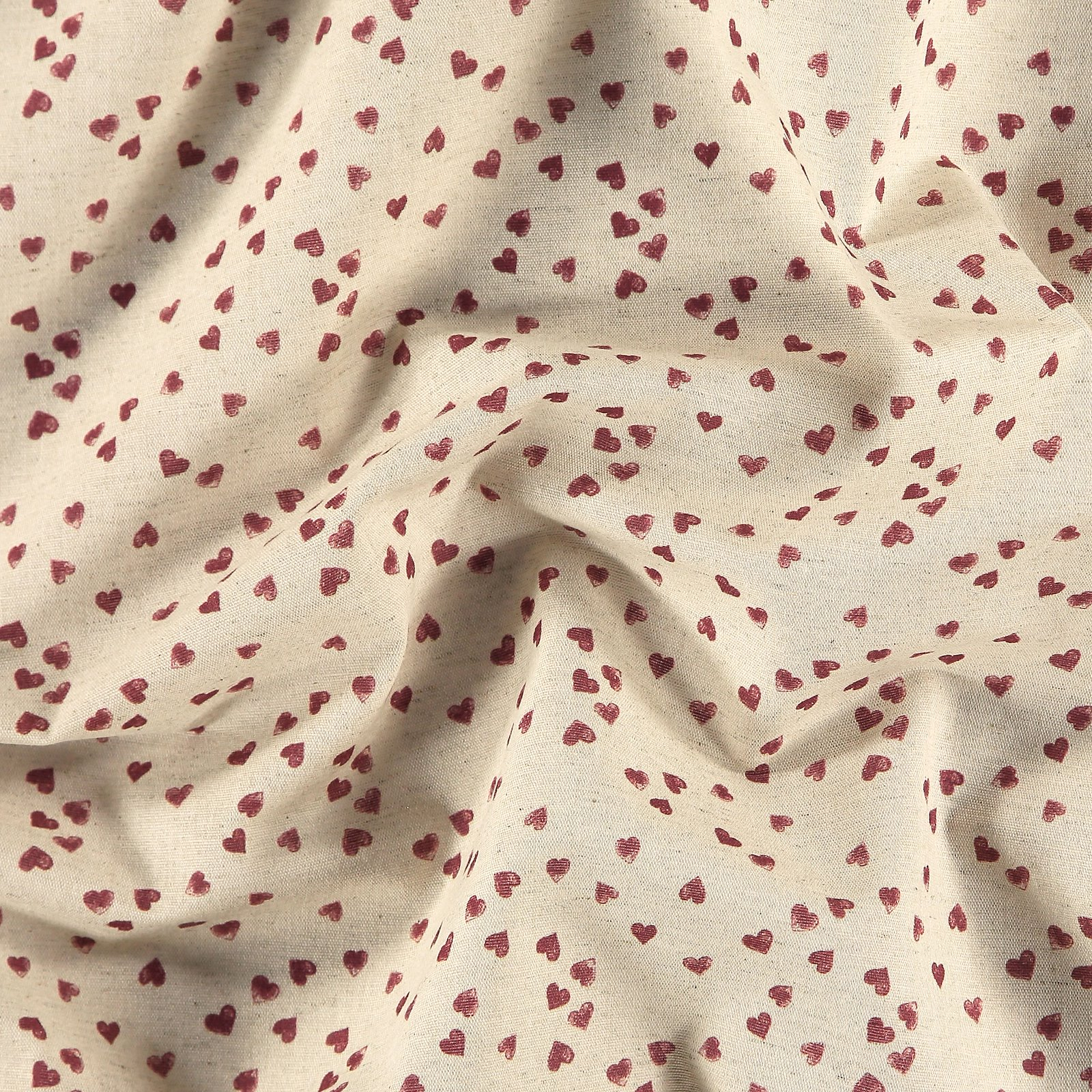 Woven cotton/linen with red hearts 780557_pack