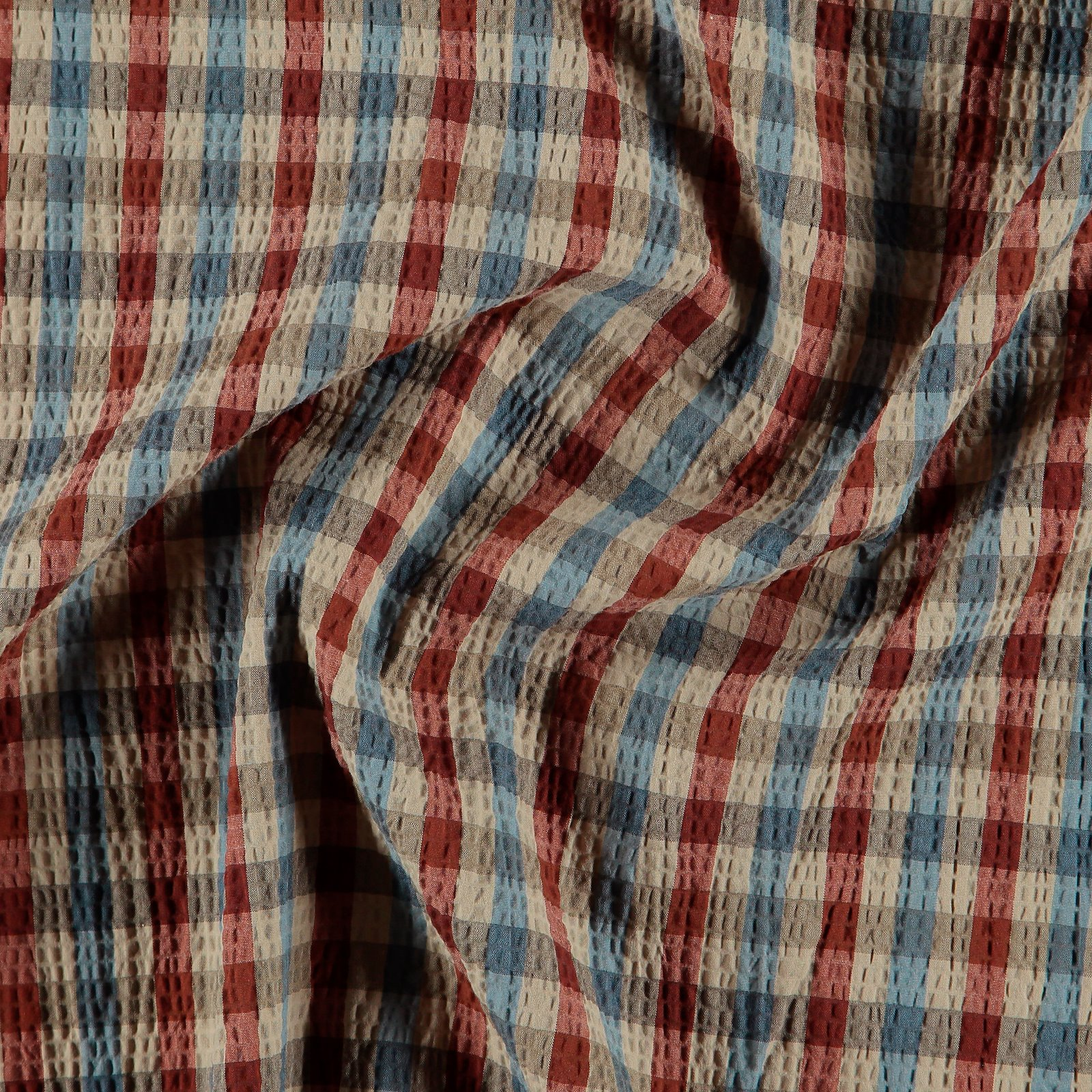 Woven cotton w structure brown YD check 501898_pack