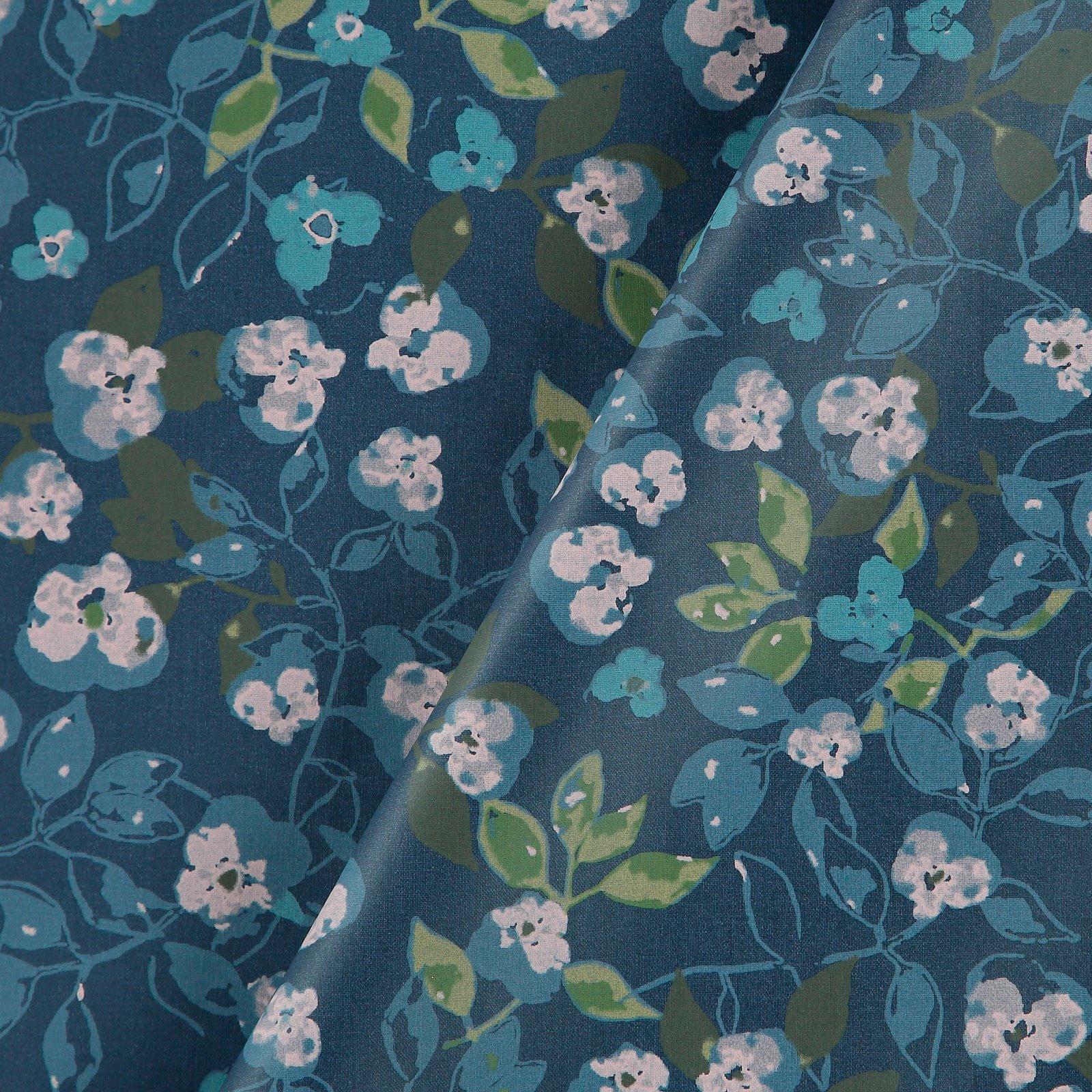 Woven oil cloth dark dusty blue w flower 866134_pack