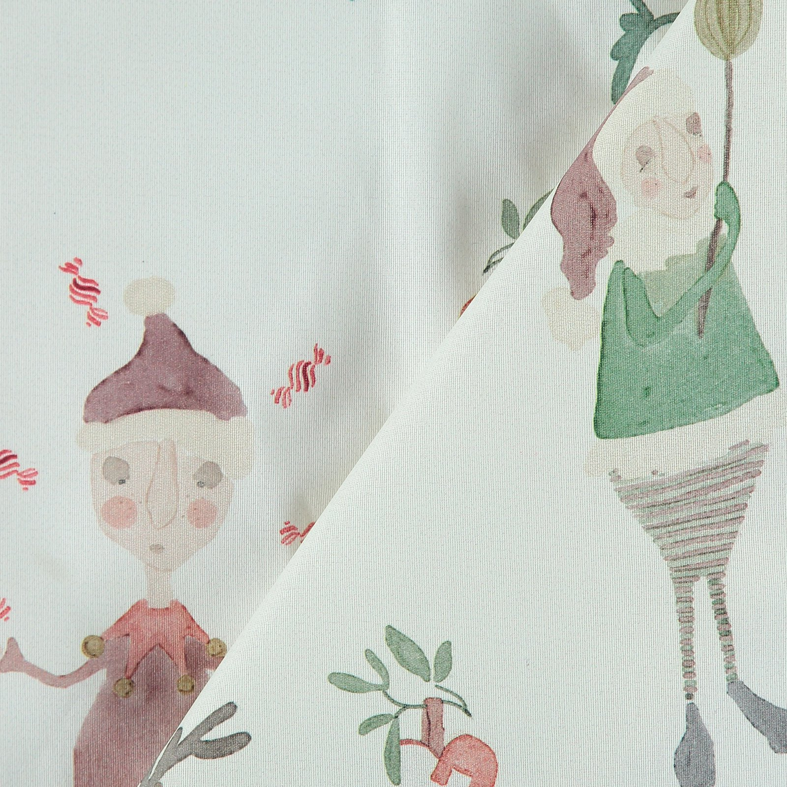 Woven oilcloth off white with elves 872305_pack