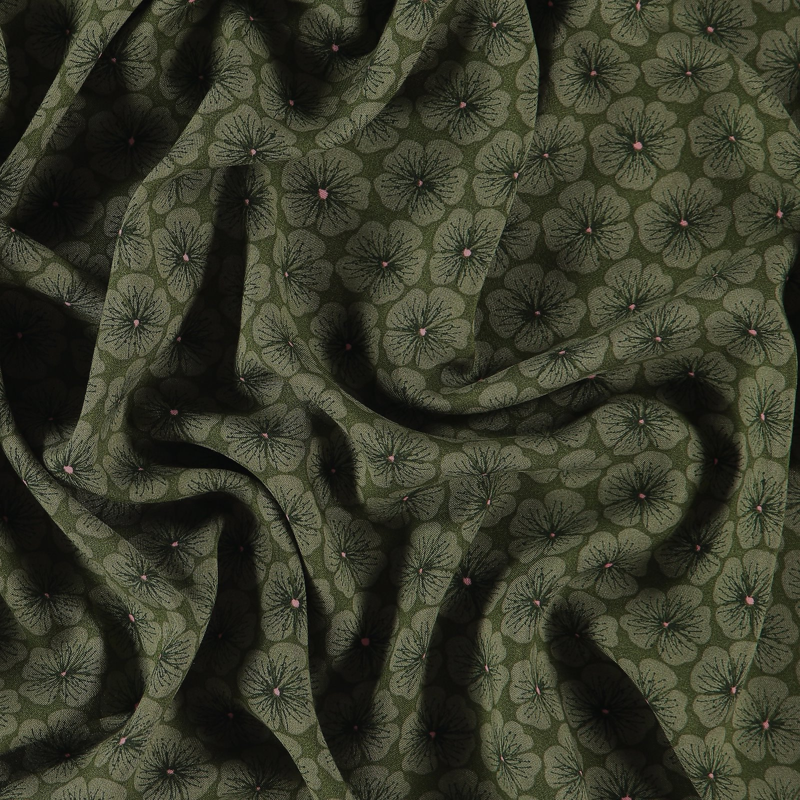 Woven viscose army green with flowers 710573_pack