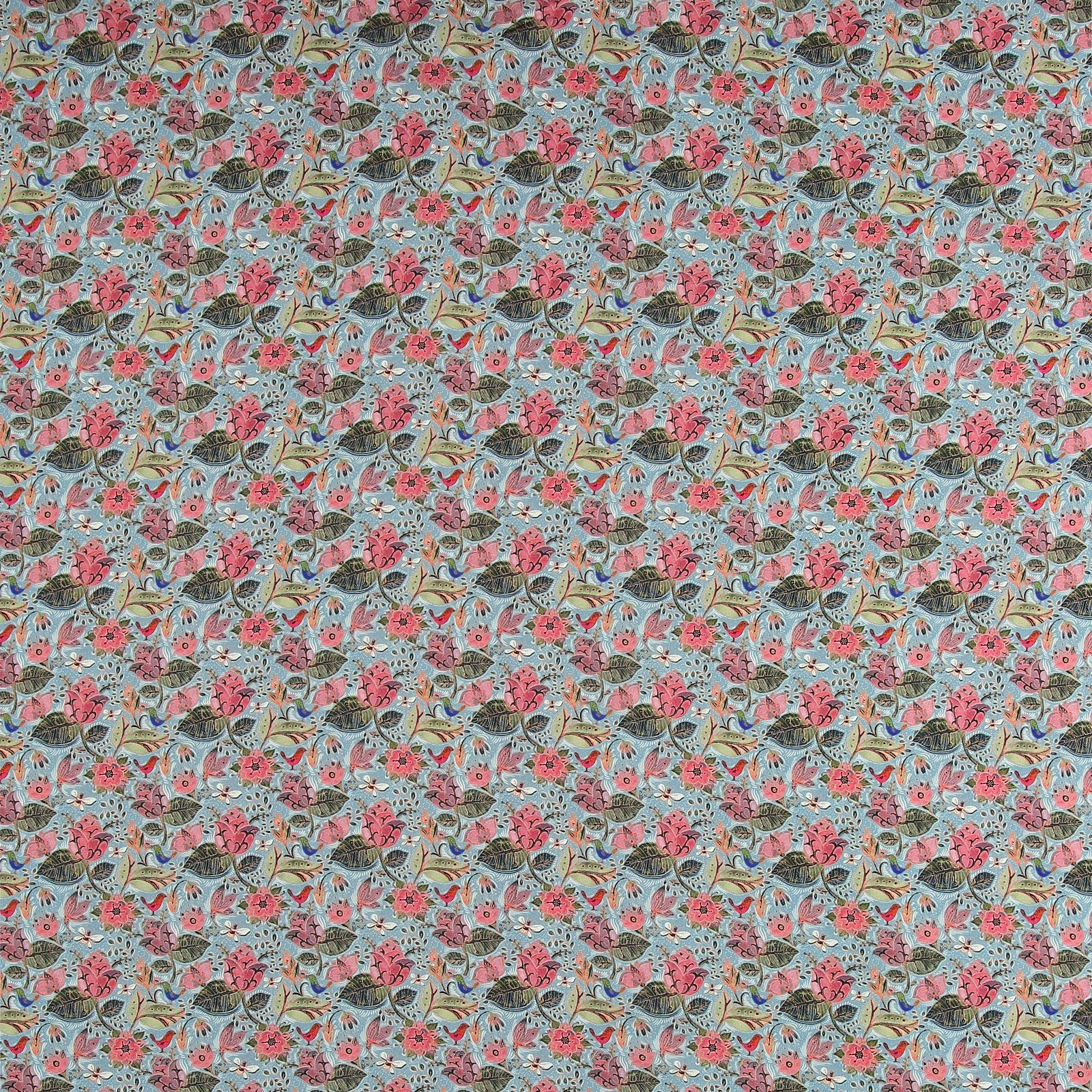 Woven viscose blue w flowers and bees 710635_pack_sp