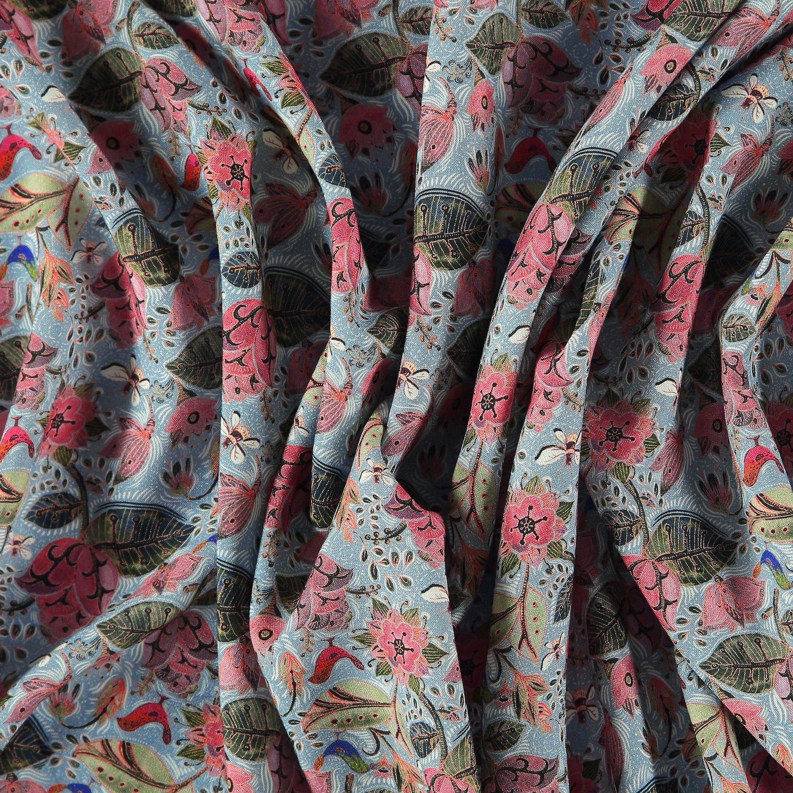 Woven viscose blue w flowers and bees 710635_pack