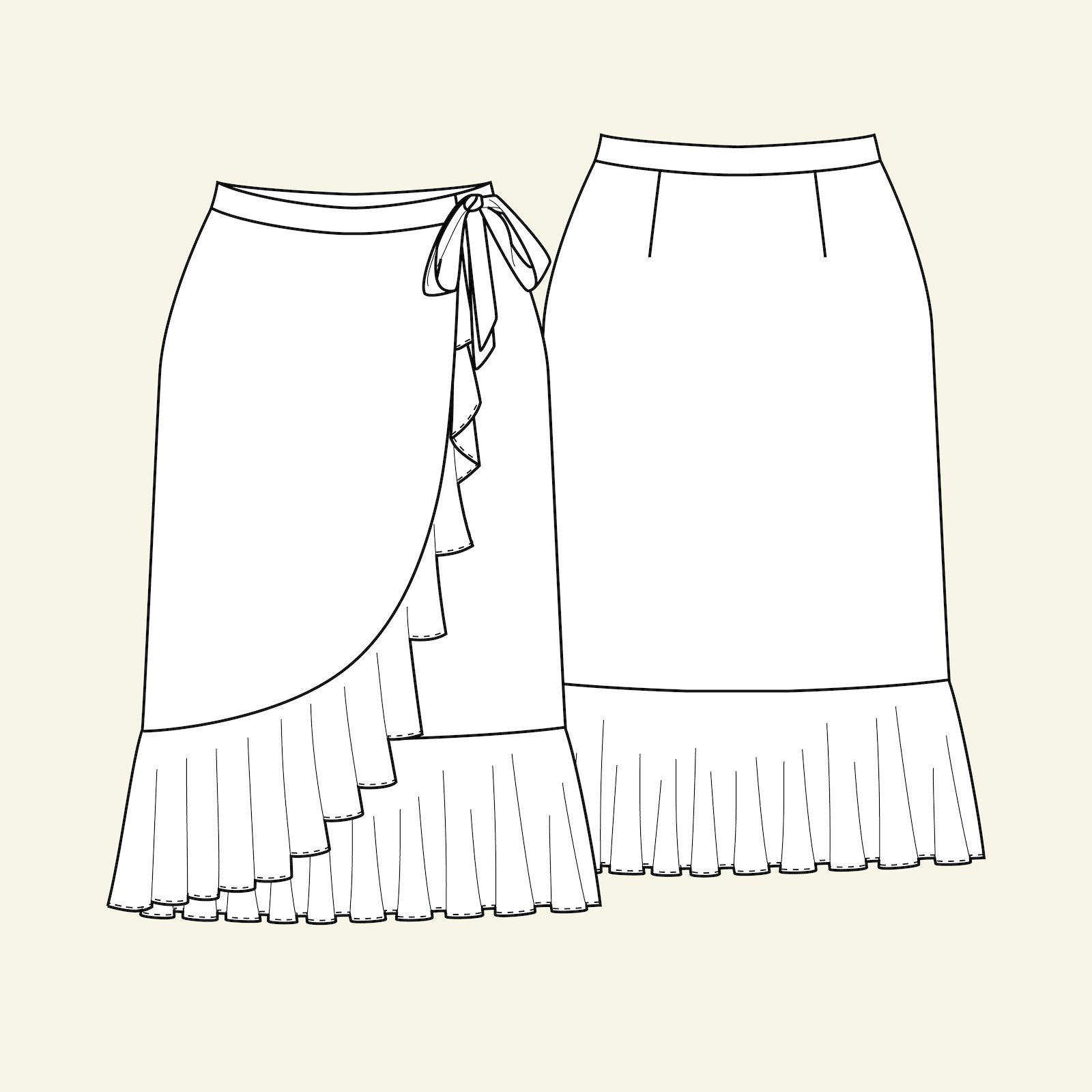 Wrap round skirt with flounce, 38/10 p21039_pack